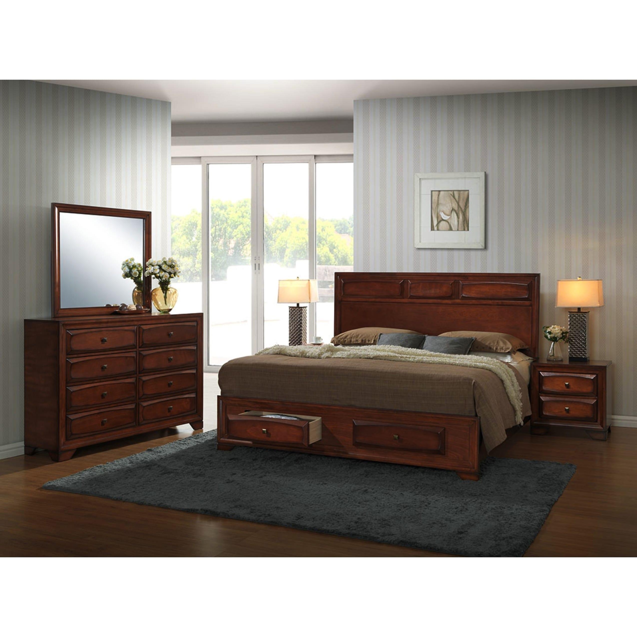Oakland Antique Oak 5-piece King-size Bedroom Set