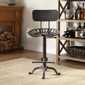 Joren Grey Cast Iron Tractor Seat Stool With Back