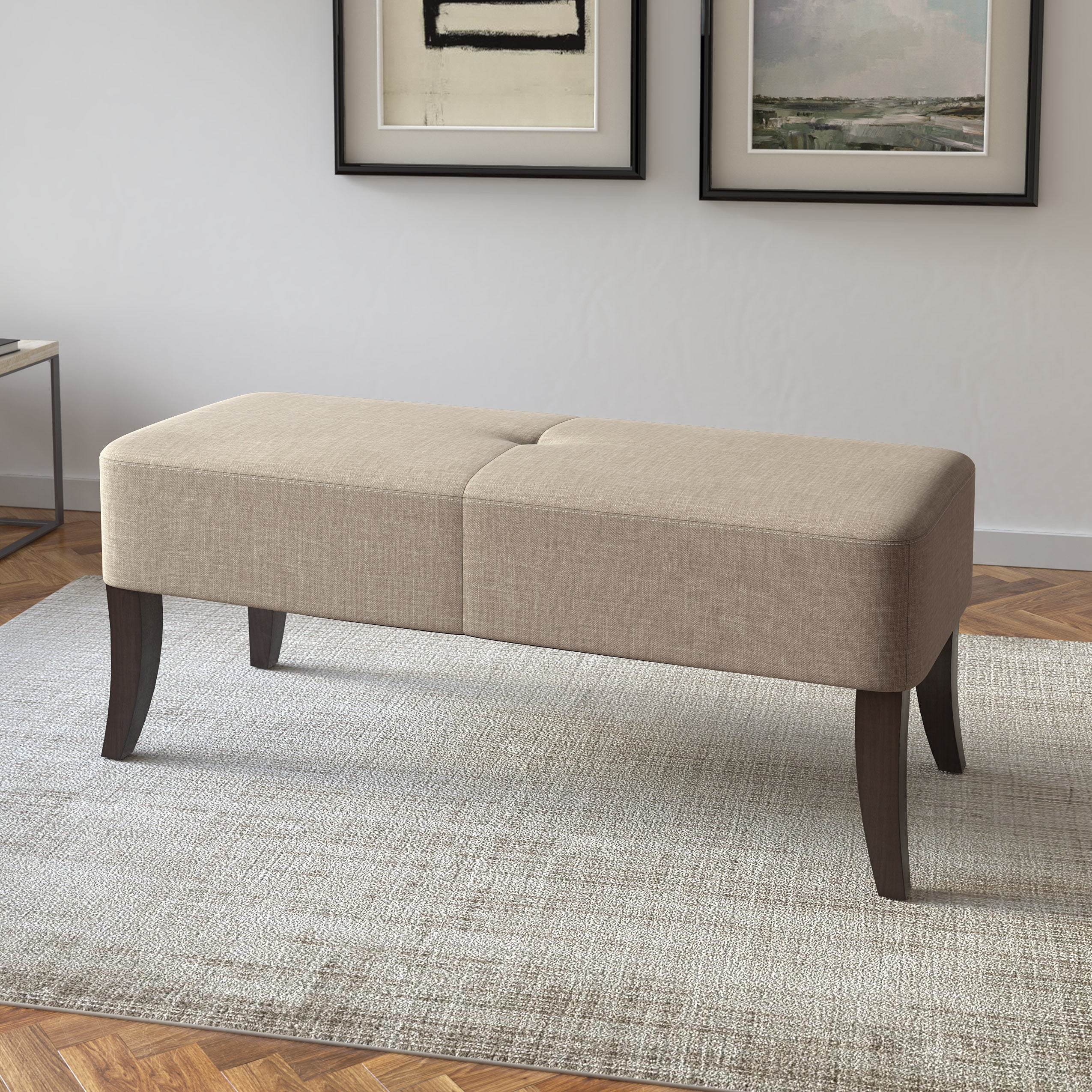Shop Porch Den Amanda 46 Inch Upholstered Bench Free Shipping