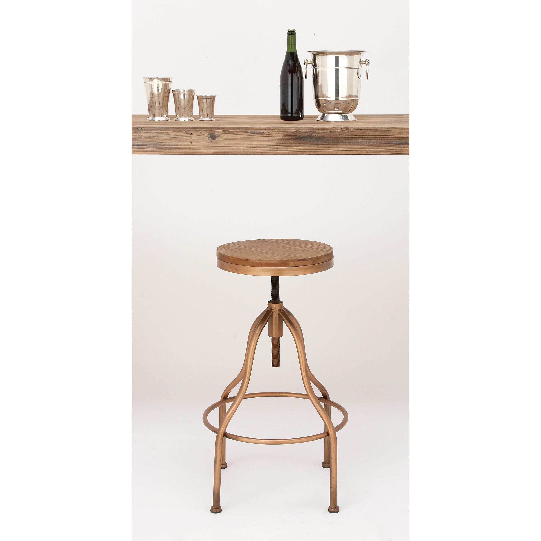 Shop Urban Designs Copper Metal Wood Round Adjustable Height Vintage