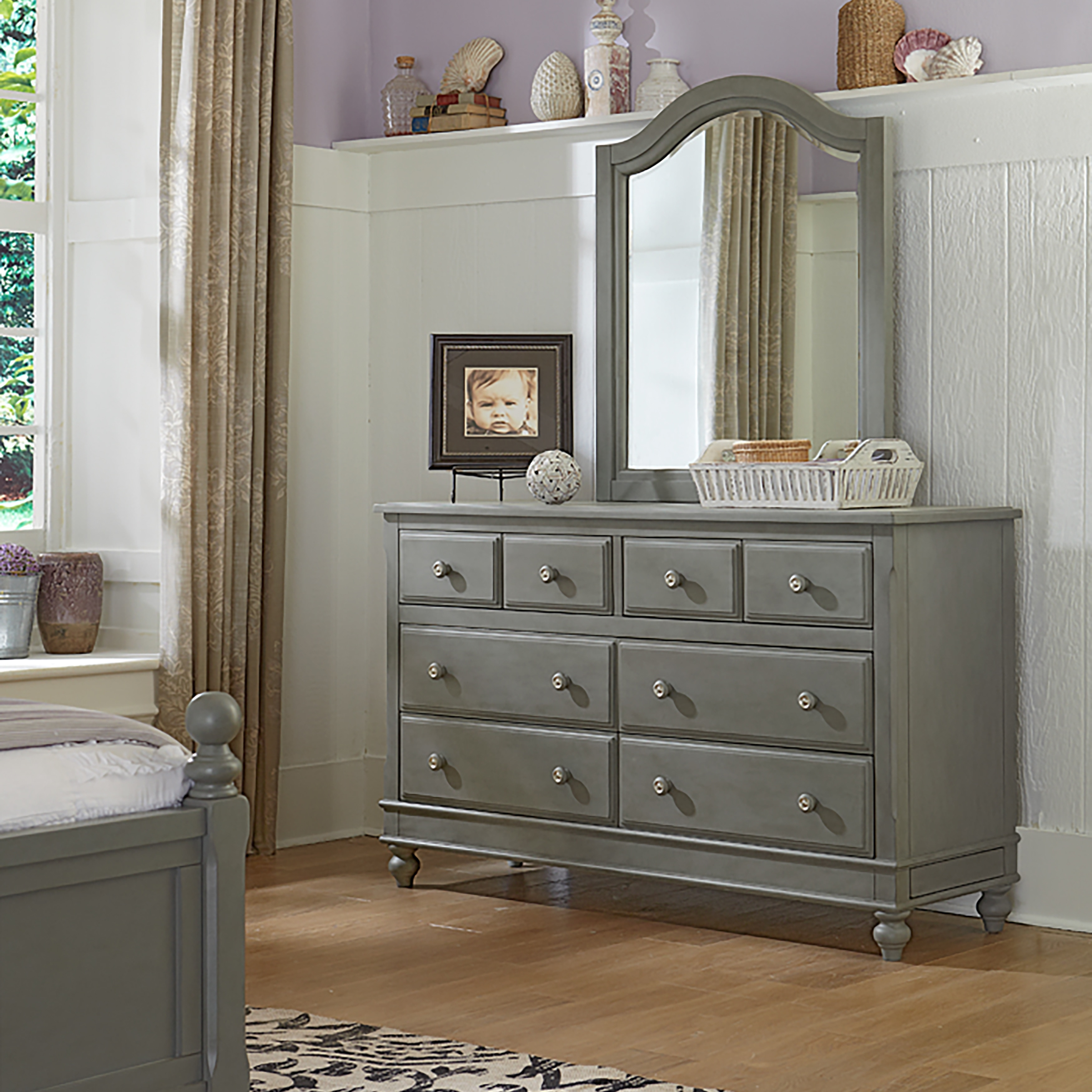 Shop Lake House Stone Grey 8 Drawer Dresser With Mirror On Sale