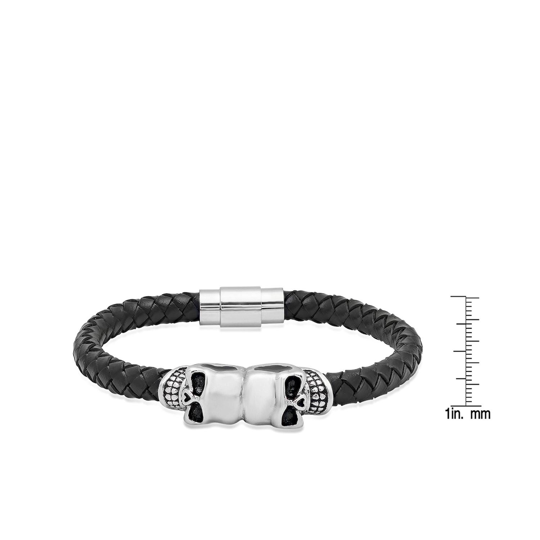 Steeltime Men\'s Black Leather Stainless Steel Skull Bracelet ...