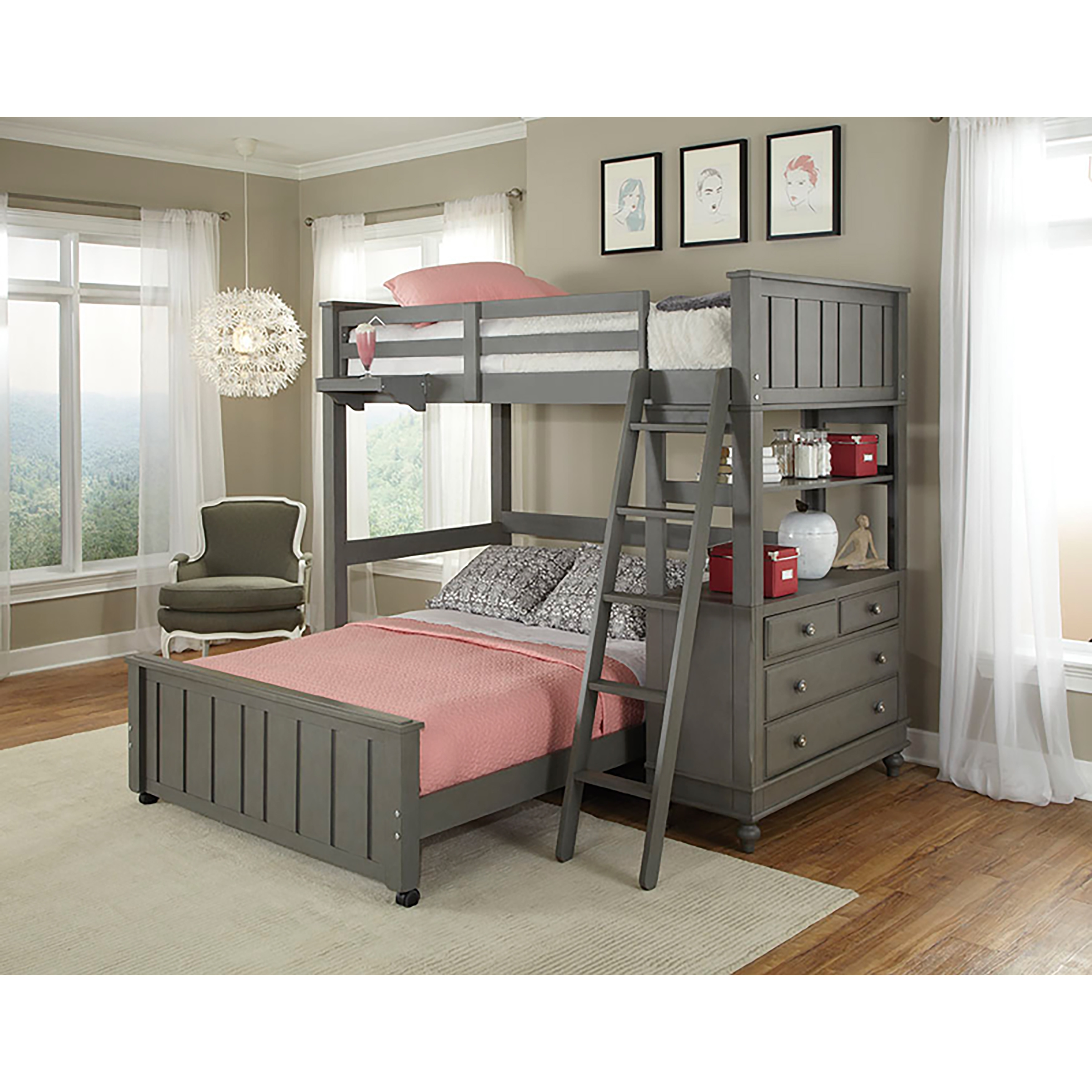 Lake House Stone Full Loft Bunk Bed with Full Lower Bed - Free ...