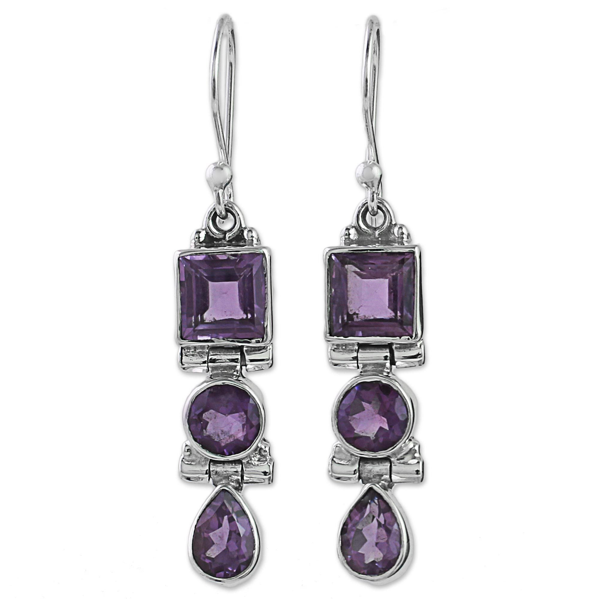 Handmade Sterling Silver Lavender Glamour Amethyst Earrings India On Free Shipping Today 12548601