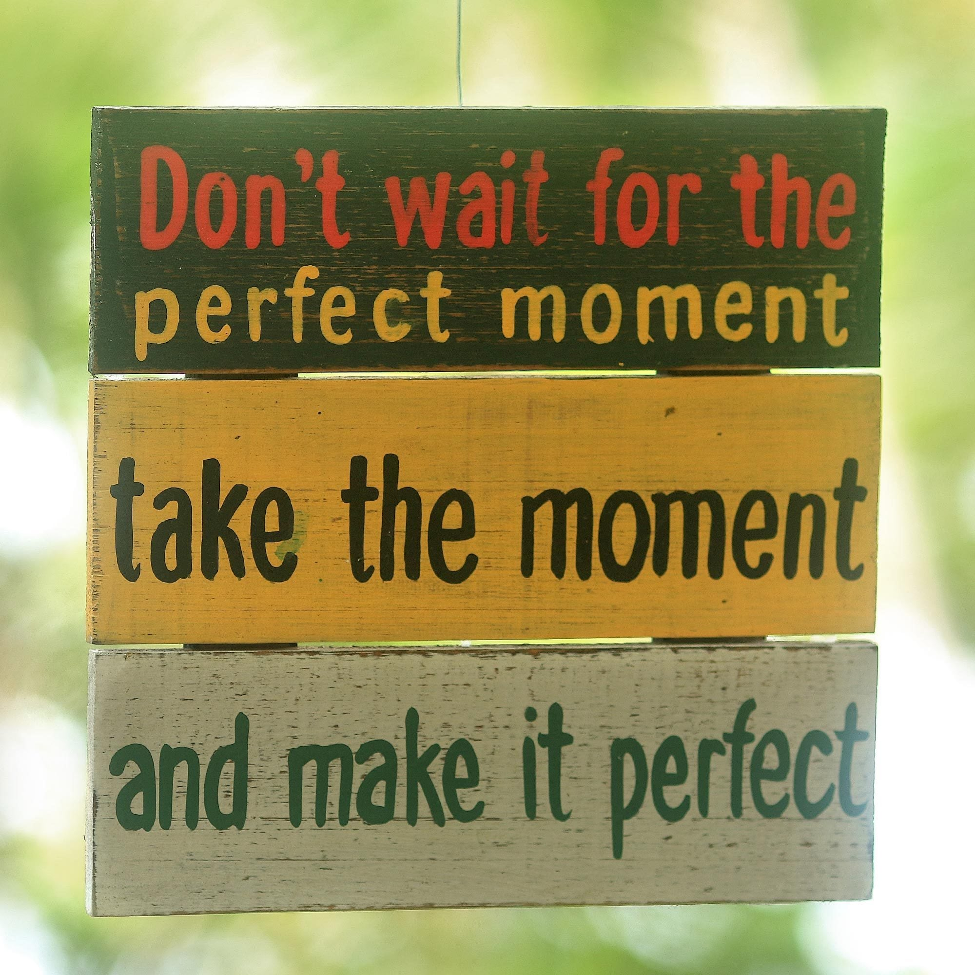 Handmade Albesia Wood \'Perfect Moment\' Wall Art Sign (Indonesia ...