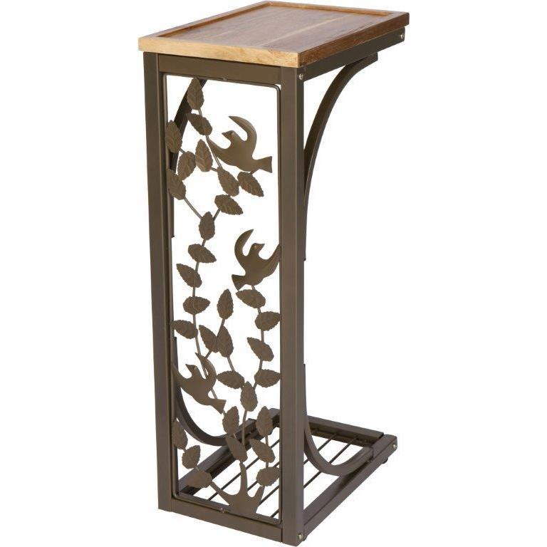 Trademark Innovations Acacia Wood Top Metal Bird Motif 2 Foot High Side Sofa Snack Table Free Shipping On Orders Over 45 12554668
