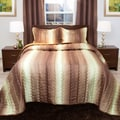 Windsor Home Striped Chocolate/ Taupe Metallic King Size Bedspread Set (As Is Item)