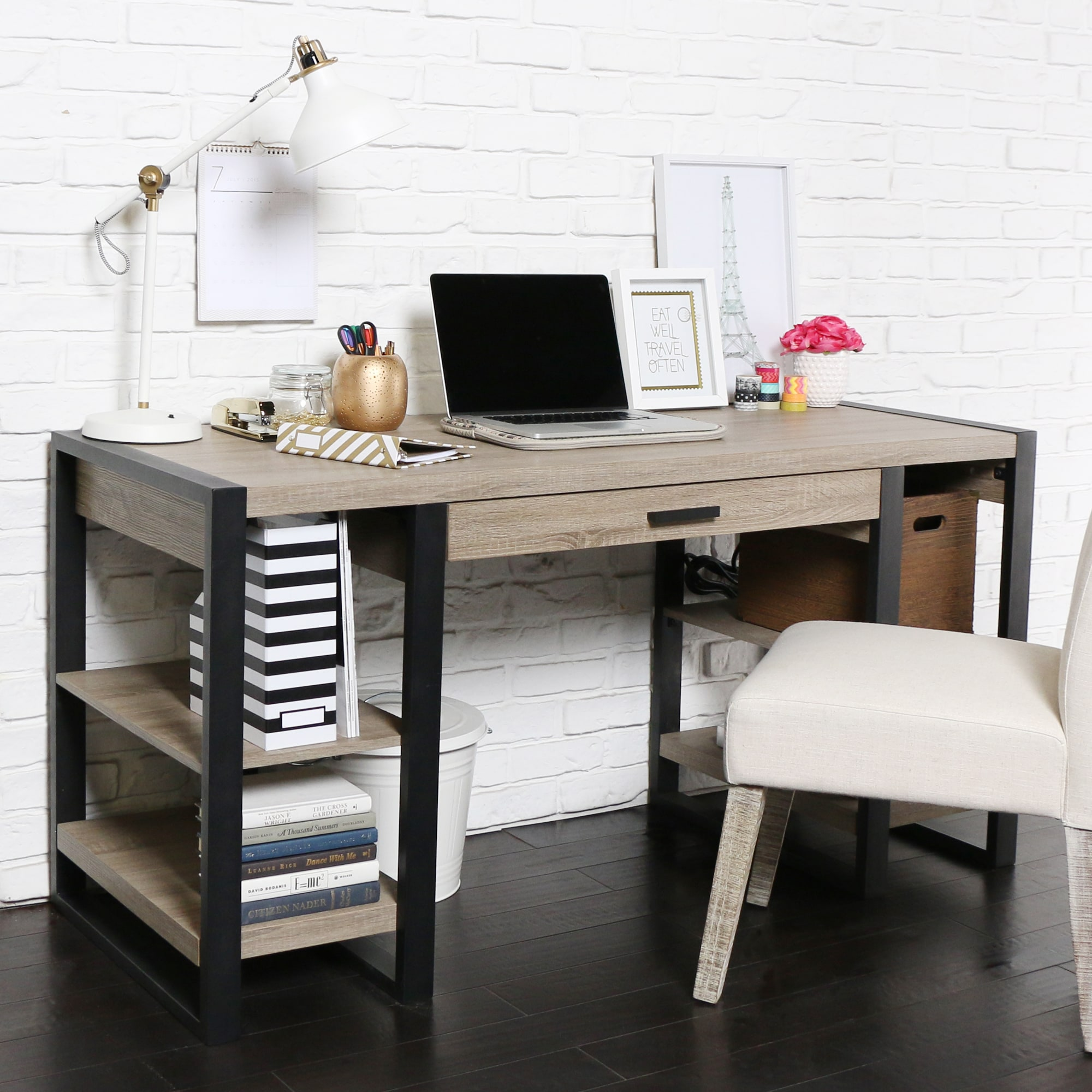 60 inch blend storage desk free shipping today overstock