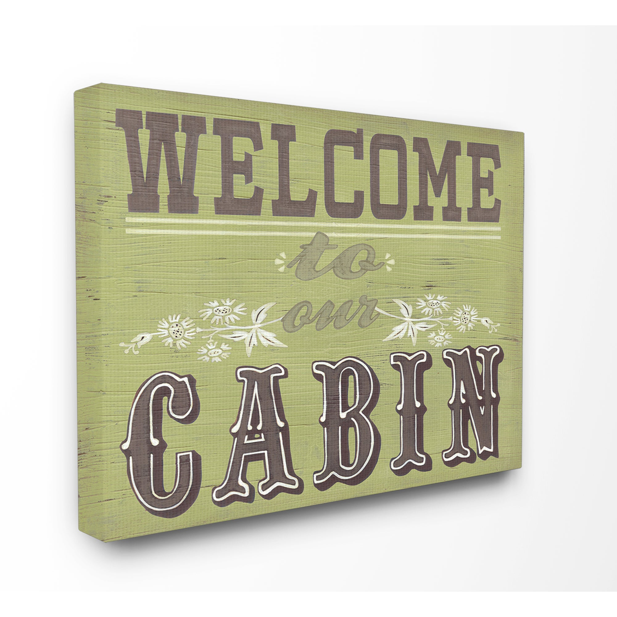 Welcome to Our Cabin Green and Grey Typography Stretched Canvas Wall ...