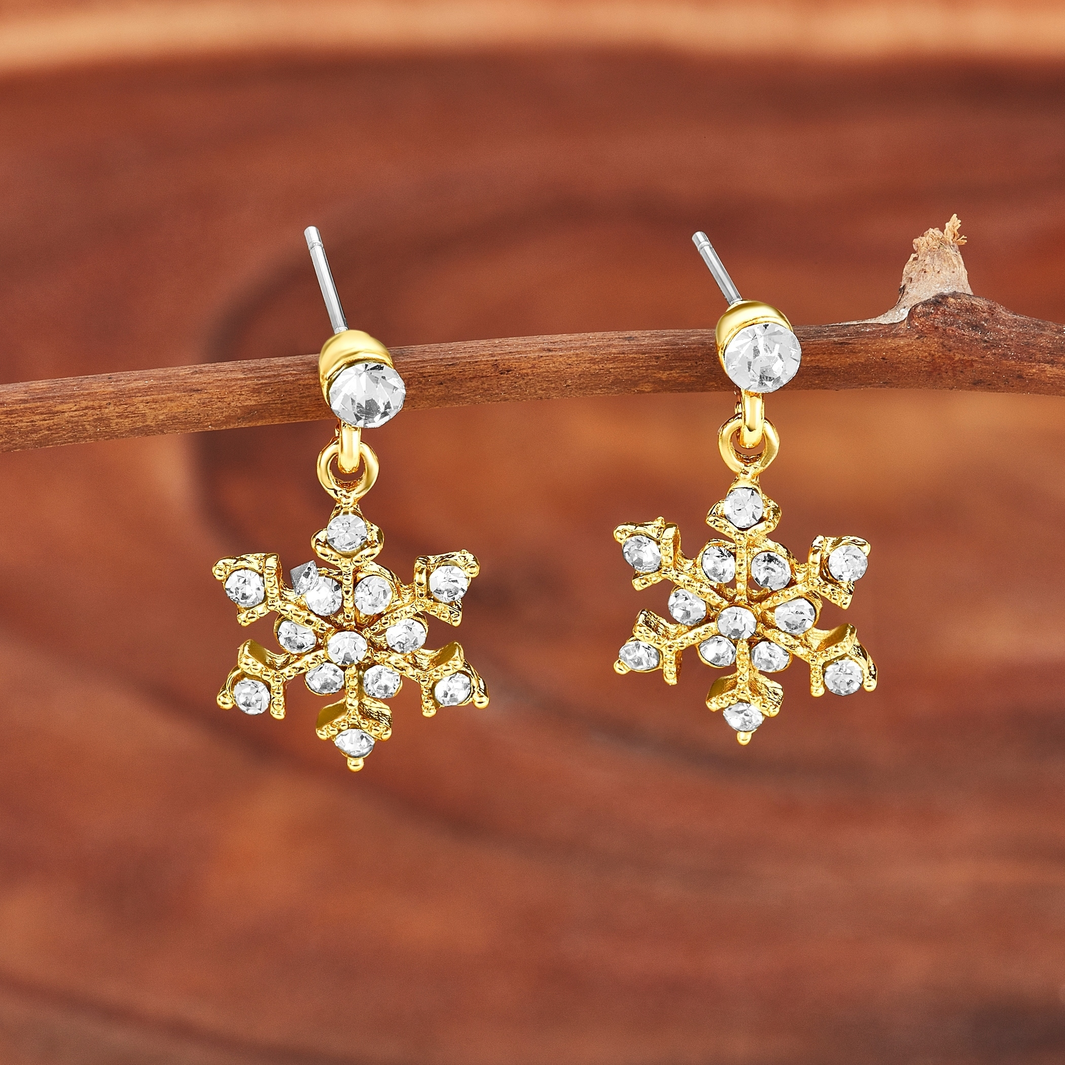 365970739 Shop Polished Crystal Snowflakes Dangle Earrings - Free Shipping On Orders  Over $45 - Overstock - 12557950