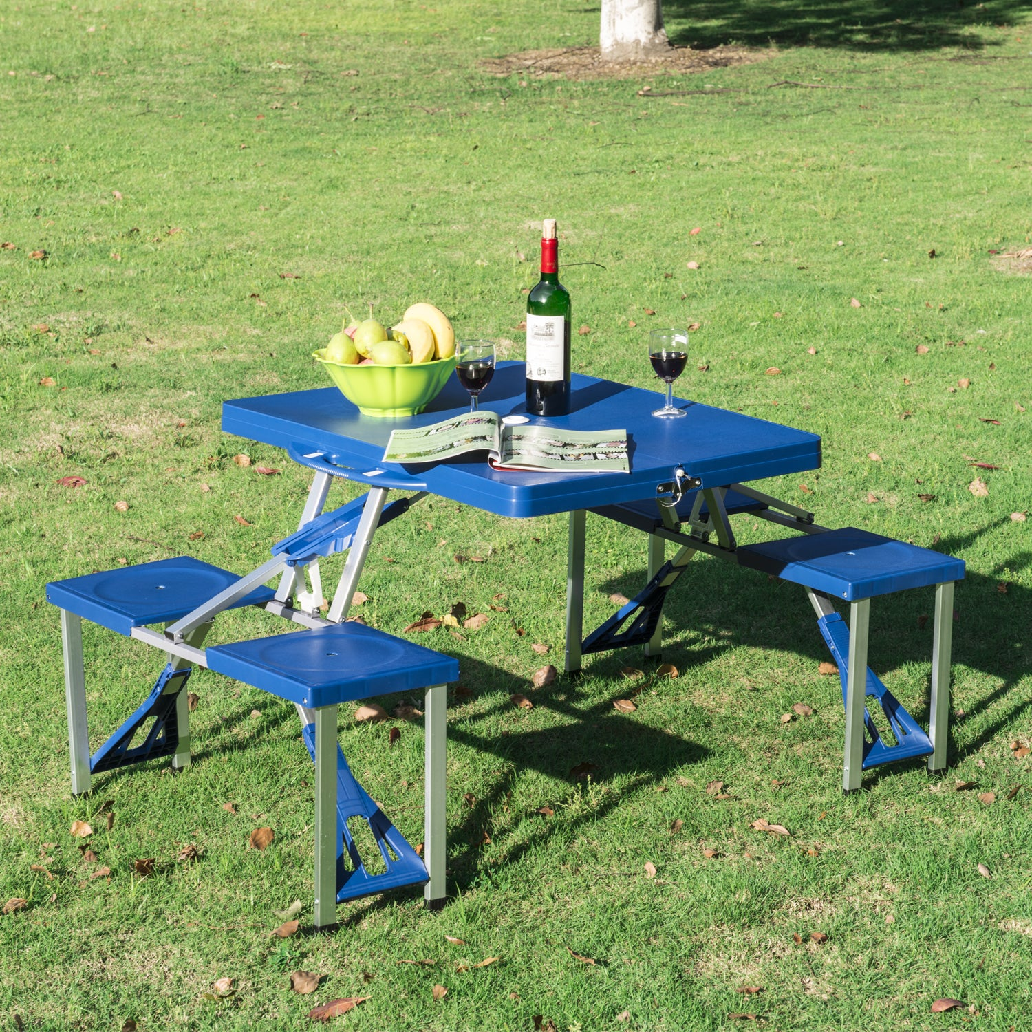 Outsunny Blue Aluminum Portable Folding Outdoor Camp Suitcase Picnic Table With 4 Seats Free Shipping Today 12558081