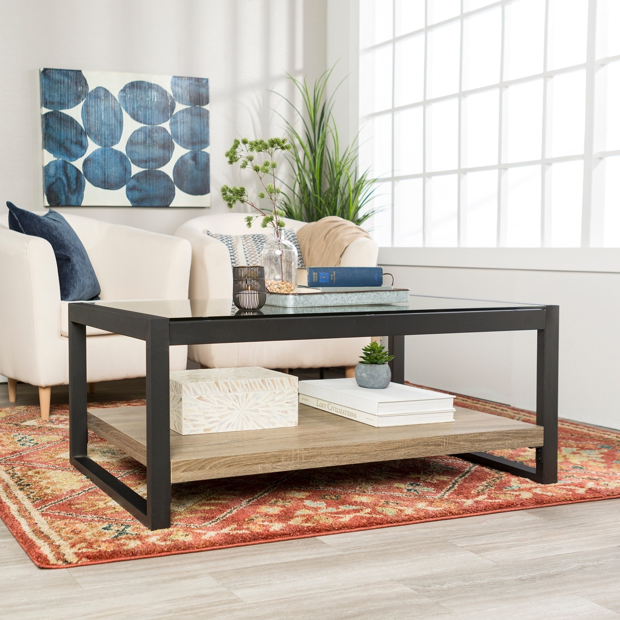 24 X 24 Coffee Table.48 Urban Blend Coffee Table With Glass Top 48 X 24 X 18h