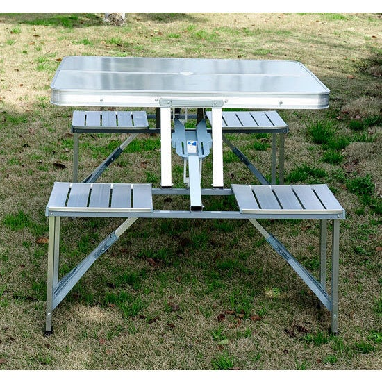 Shop outsunny outdoor silver aluminum portable folding camp suitcase shop outsunny outdoor silver aluminum portable folding camp suitcase picnic table with 4 seats on sale free shipping today overstock 12558110 watchthetrailerfo