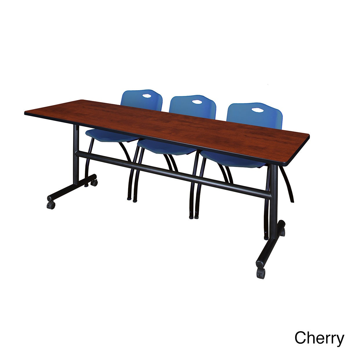Shop Kobe 84-inch Flip Top Mobile Training Table and 2 Blue Stackable  Chairs - Free Shipping Today - Overstock.com - 12596259 cfbadd9f33e