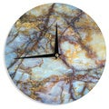 KESS InHouse KESS Original 'Opalized Marble' Blue Brown Wall Clock