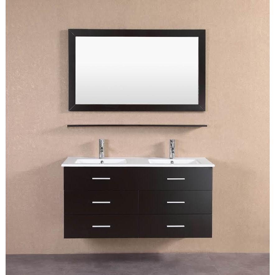 shop modern espresso wall floating 48 inch double sink bathroom rh overstock com 48 Double Sink Countertop 48 inch double sink bathroom vanity