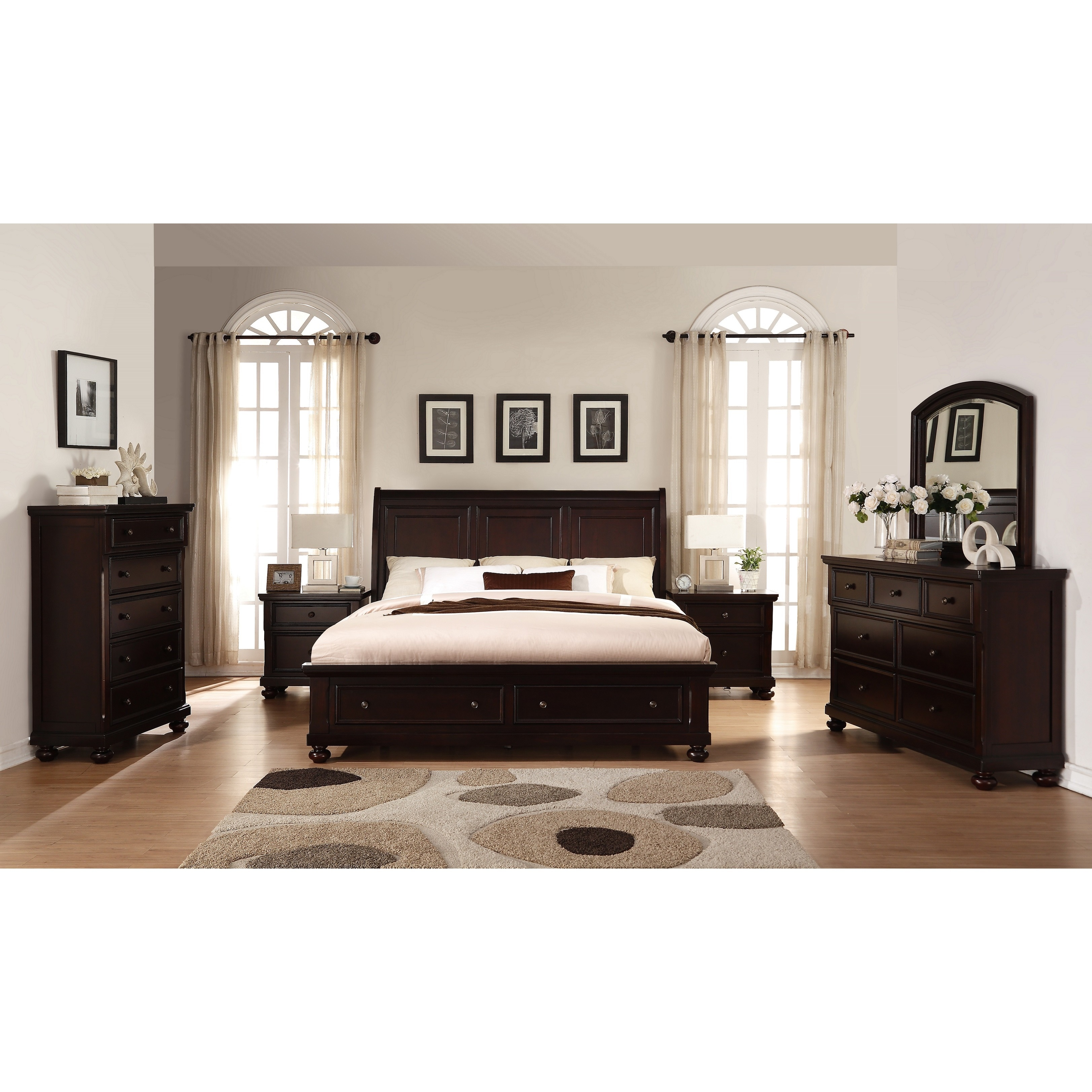 Shop Brishland Rustic Cherry Queen-size Storage Bedroom Set - On ...
