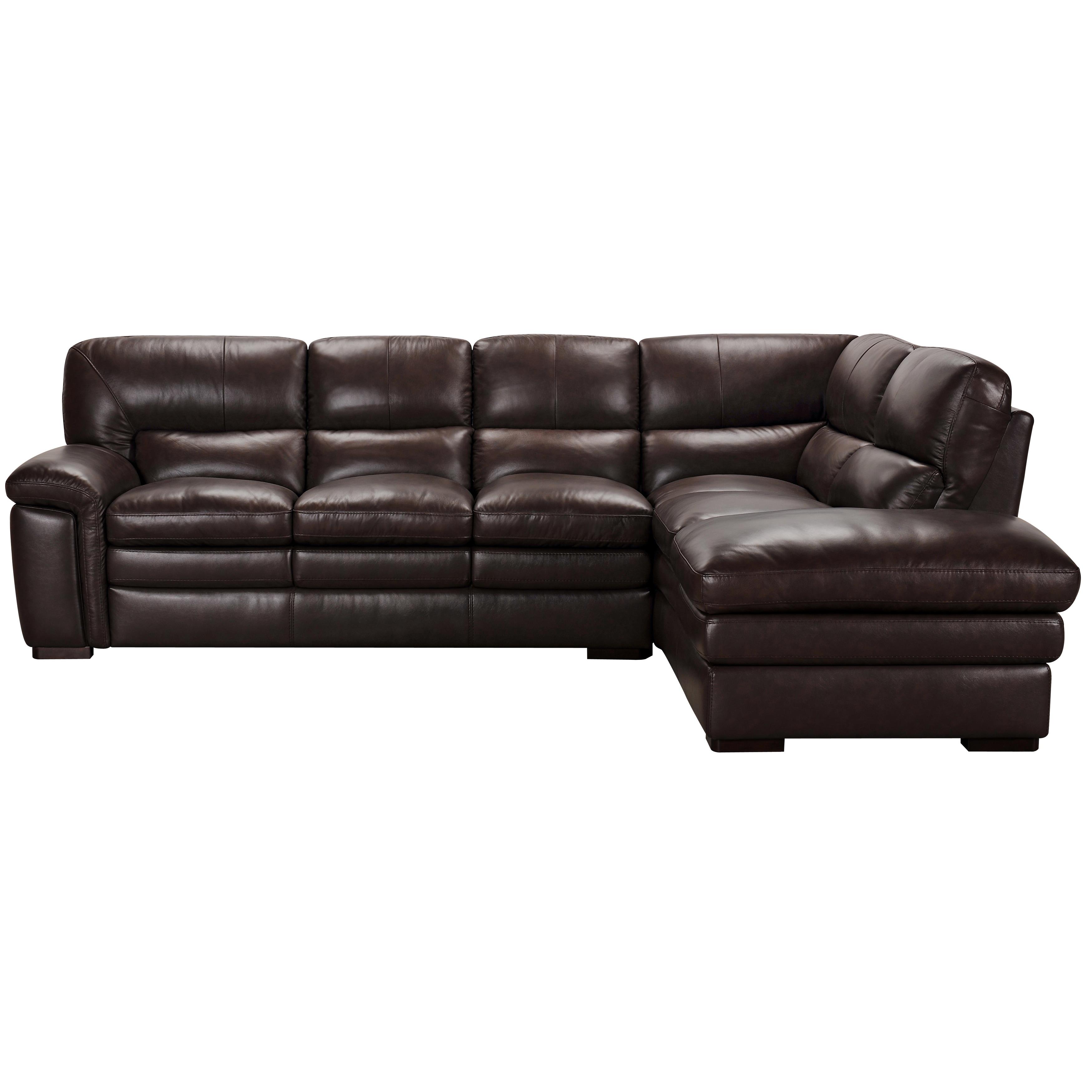 Portland Premium Top Grain Brown Leather Sectional Sofa