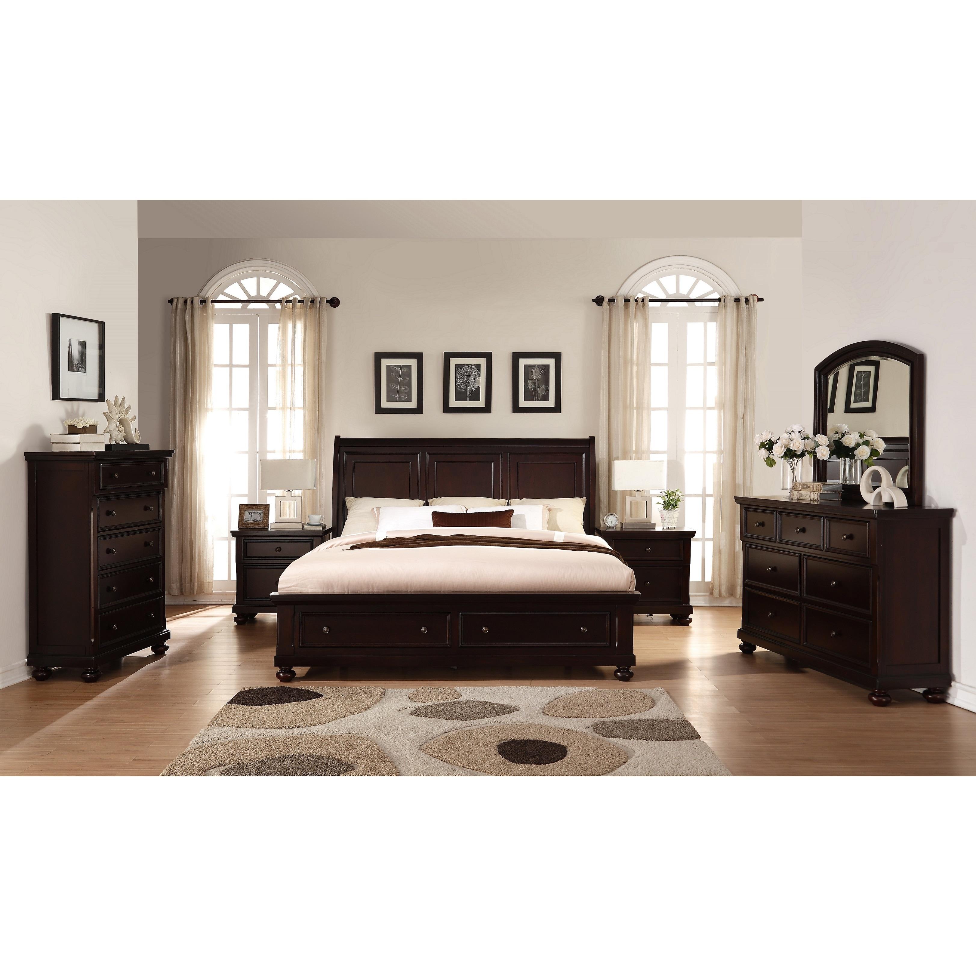 Brishland Rustic Cherry King Size Storage Bedroom Set