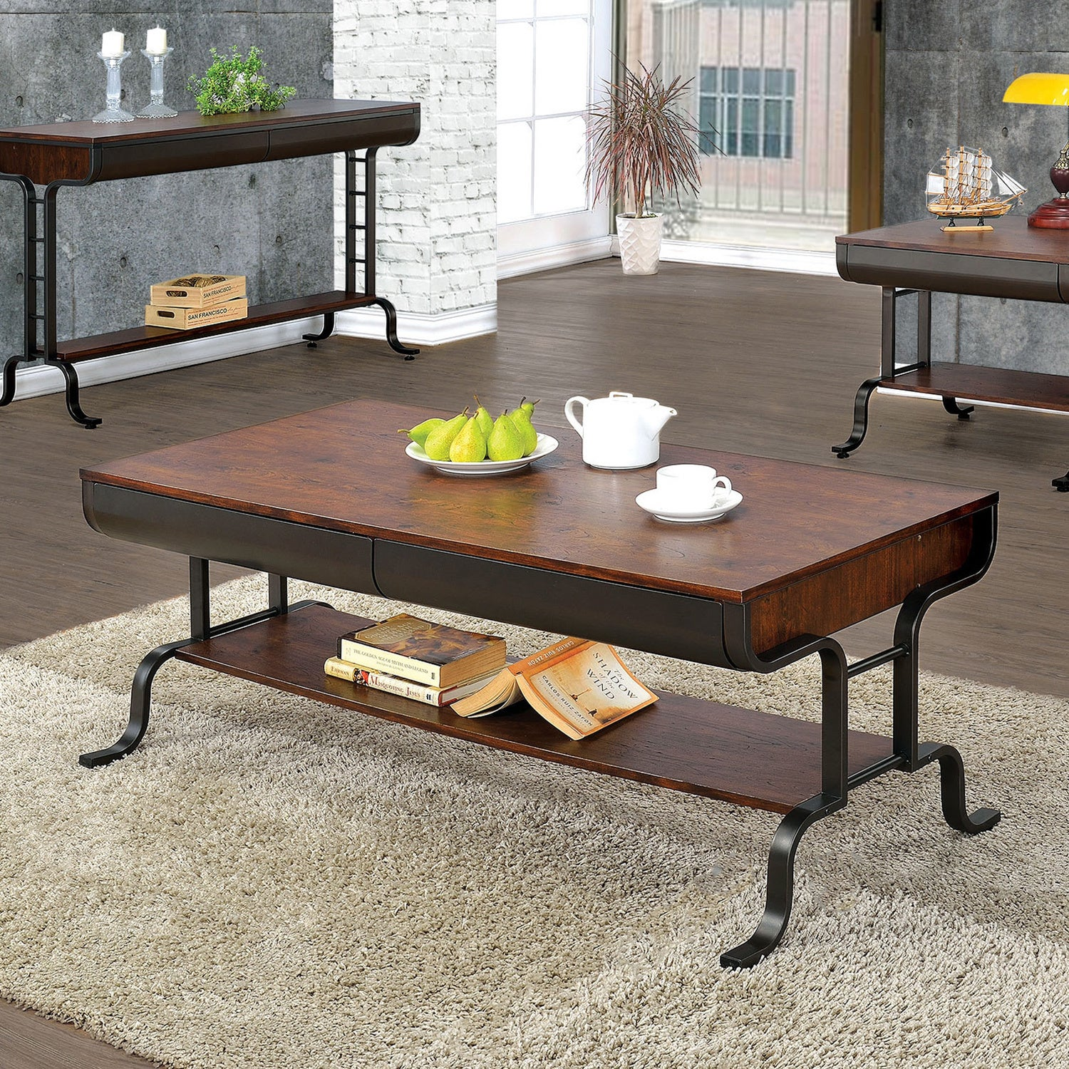 Furniture Of America Ilios Transitional 2 Drawer Two Tone Coffee Table    Free Shipping Today   Overstock   19399417