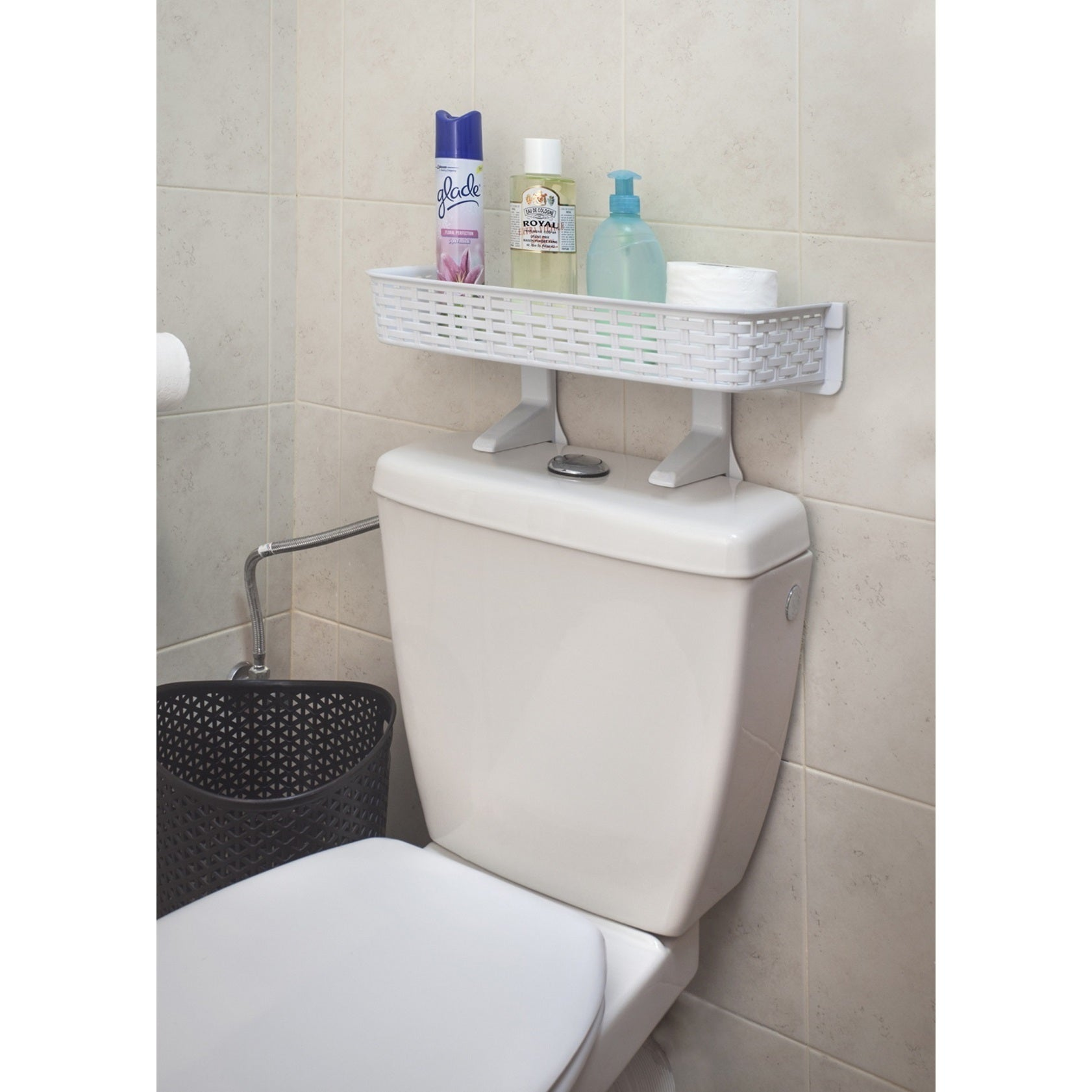 White Rattan Plastic Above Toilet Bathroom E Saver Shelf Free Shipping On Orders Over 45 12604077