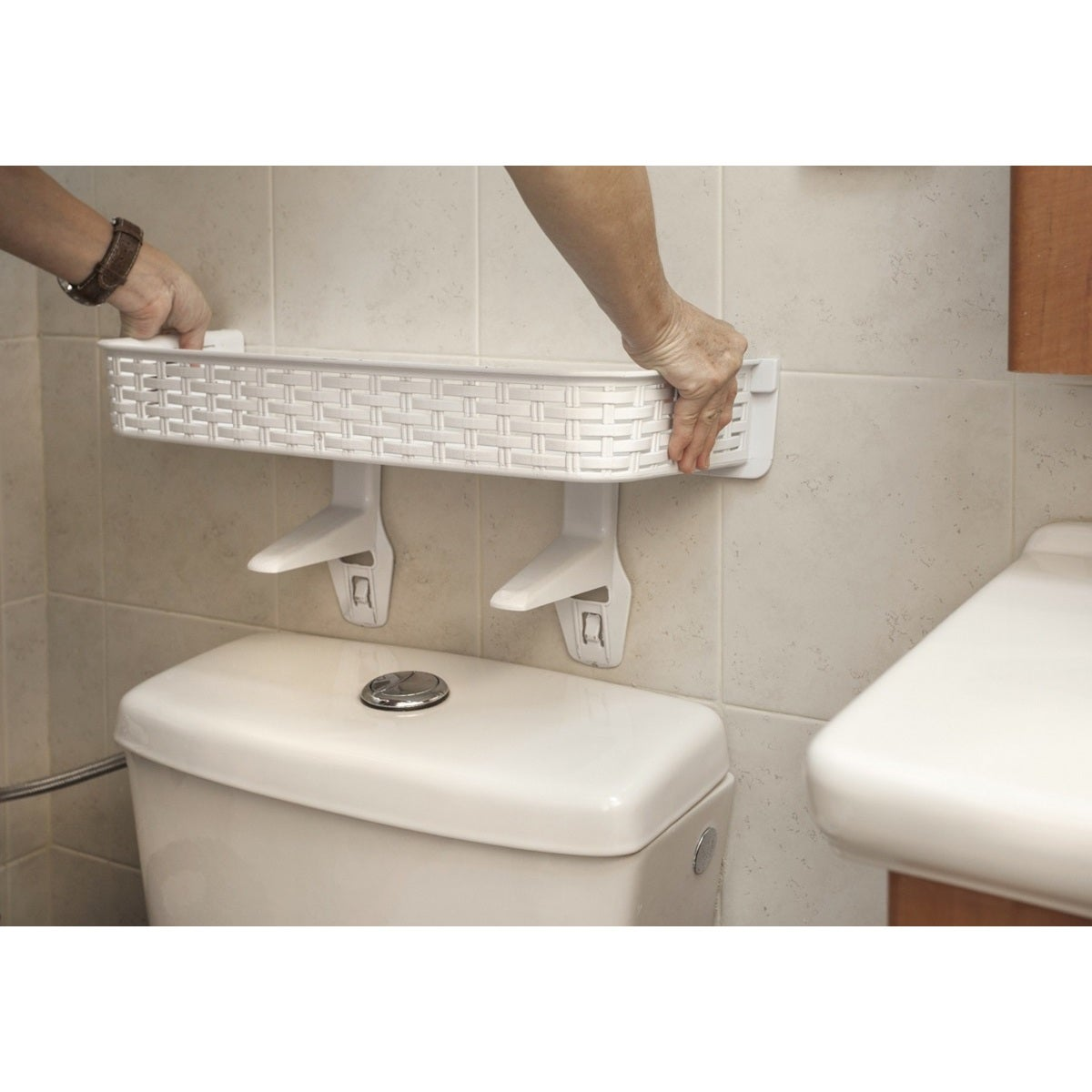 White Rattan Plastic Above Toilet Bathroom Space Saver Shelf   Free  Shipping On Orders Over $45   Overstock.com   19399508