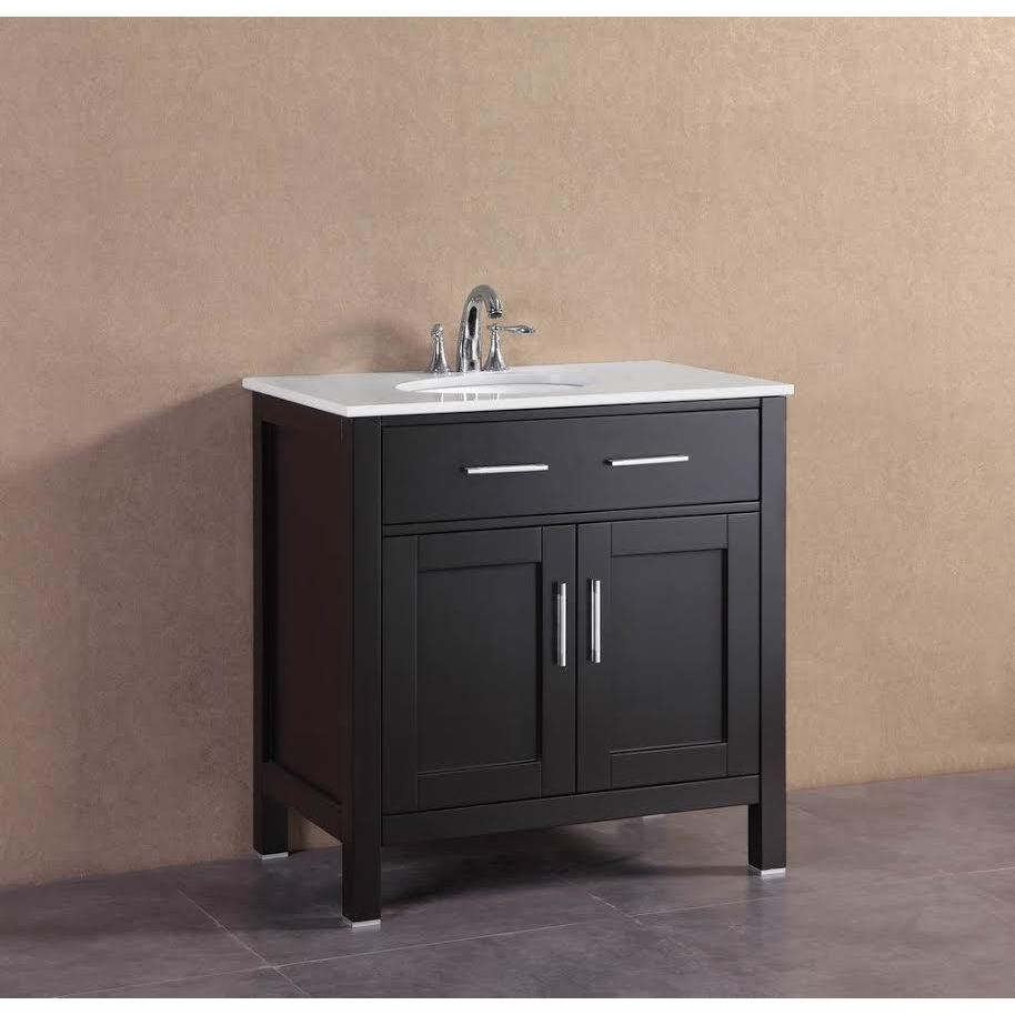 Shop belvedere modern espresso 32 inch freestanding single bathroom vanity free shipping today overstock com 12604746