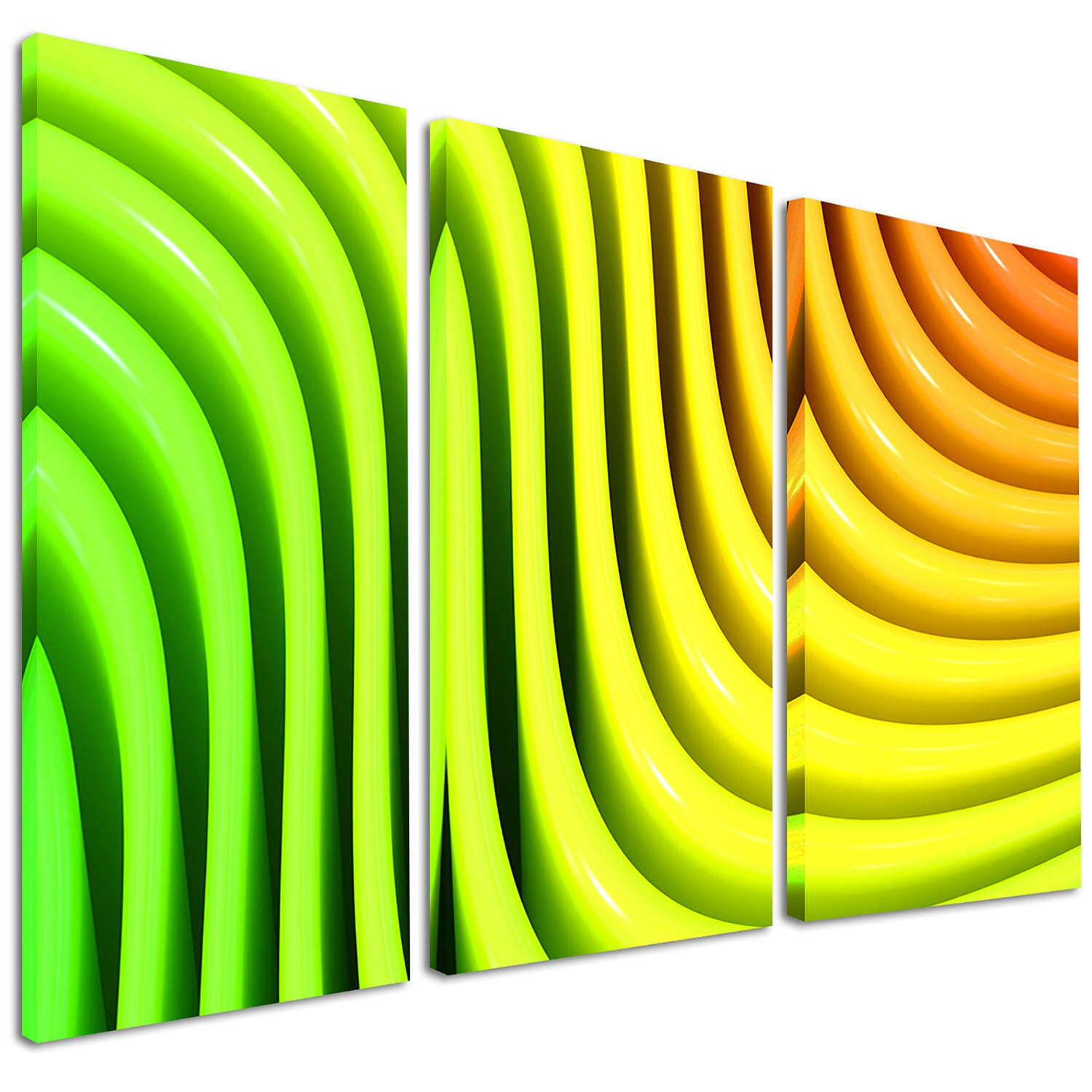 Rainbow Colors Wave - Abstract 3D Digital Art Glossy Metal Wall Art ...