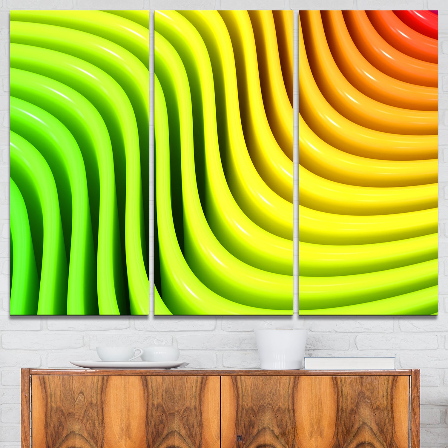 Shop Rainbow Colors Wave - Abstract 3D Digital Art Glossy Metal Wall ...