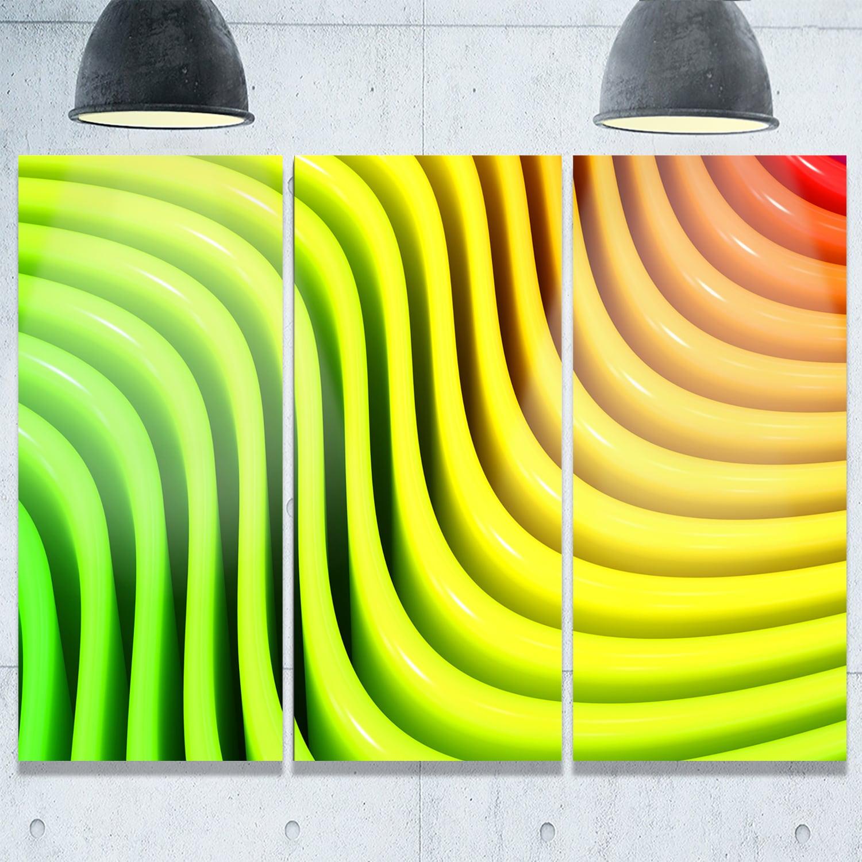 Rainbow Colors Wave - Abstract 3D Digital Art Glossy Metal Wall Art ...