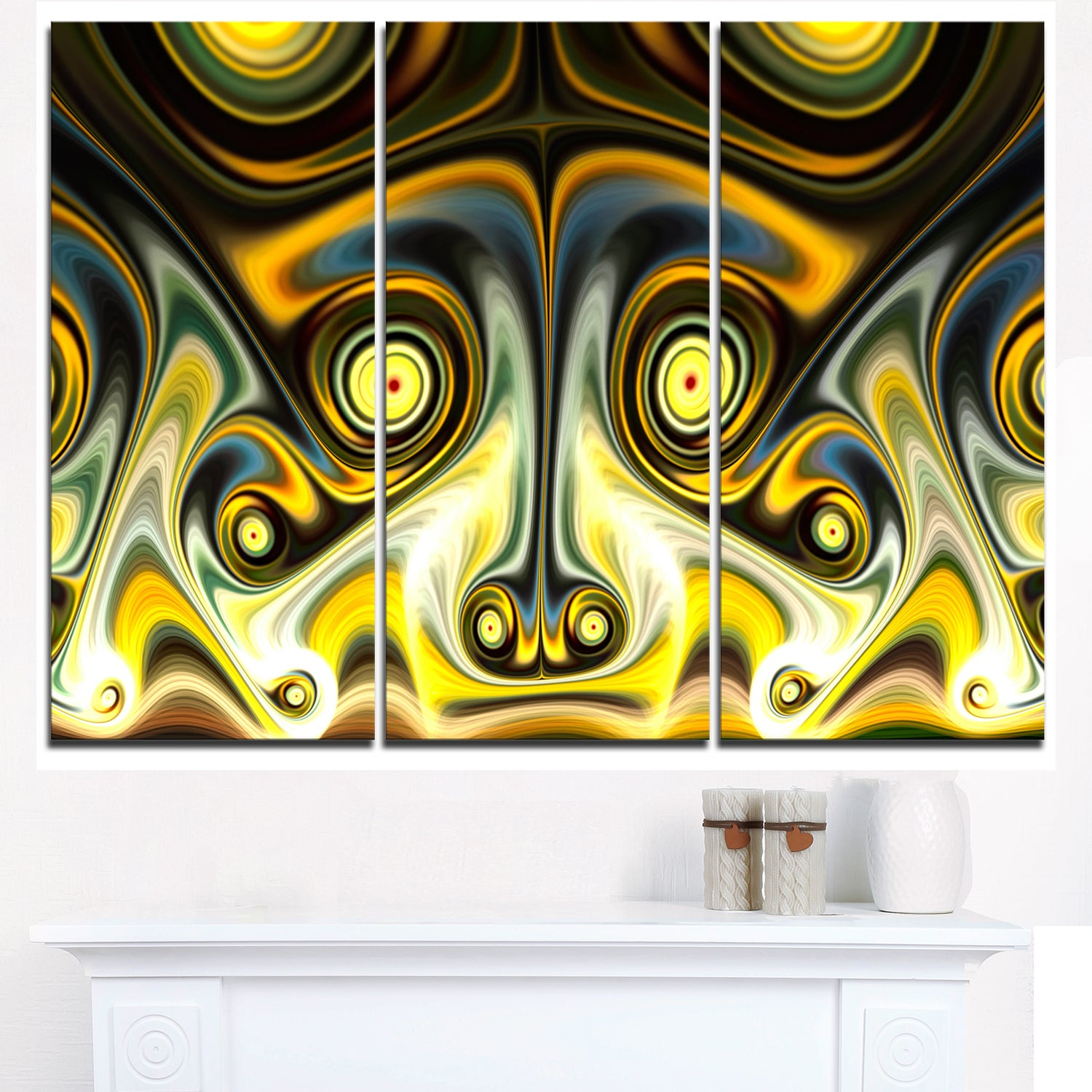 Shop Unique Light Yellow Fractal Design Pattern - Oversized Abstract ...