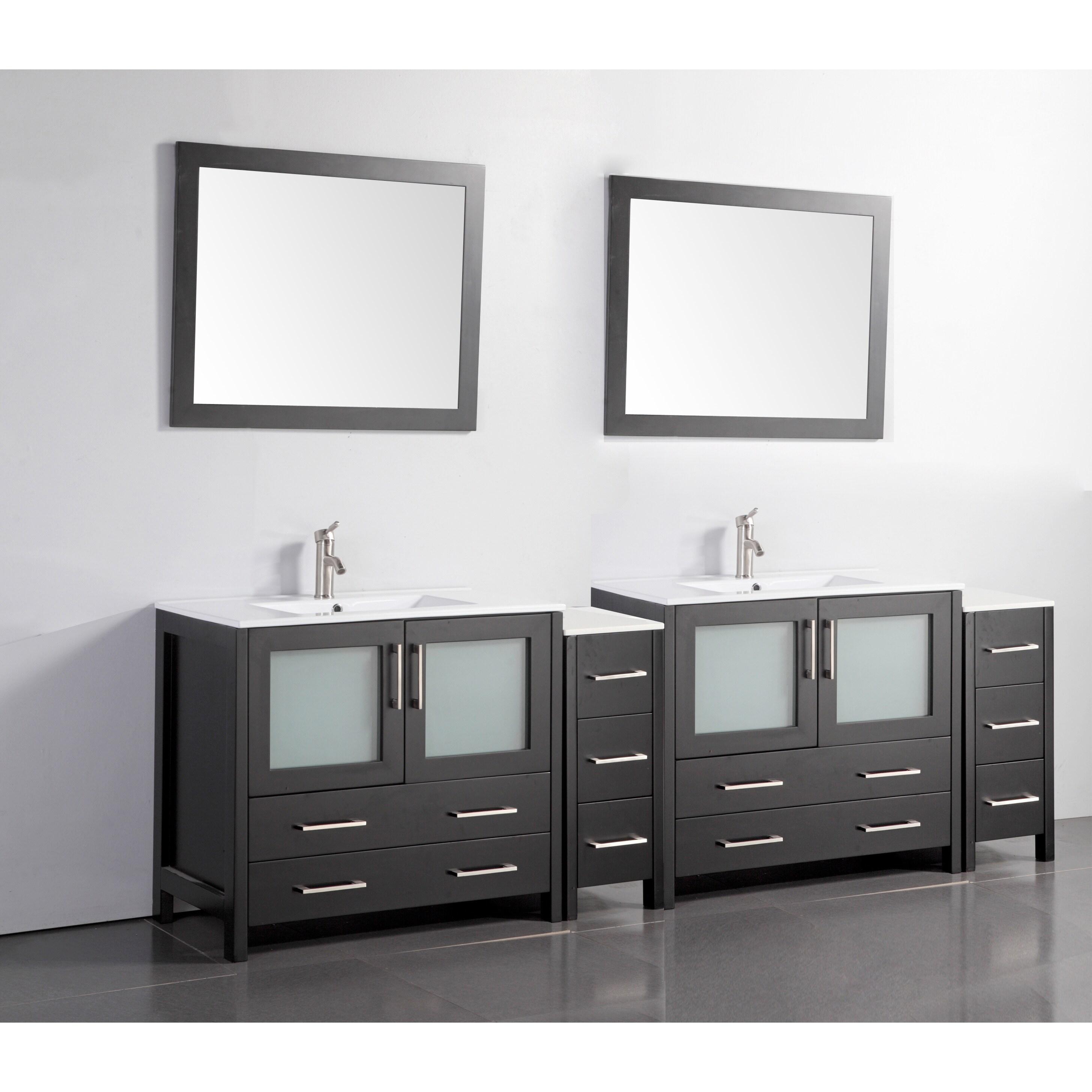 Shop vanity art ceramic sink top 96 inch double sink bathroom vanity set free shipping today overstock com 12609925