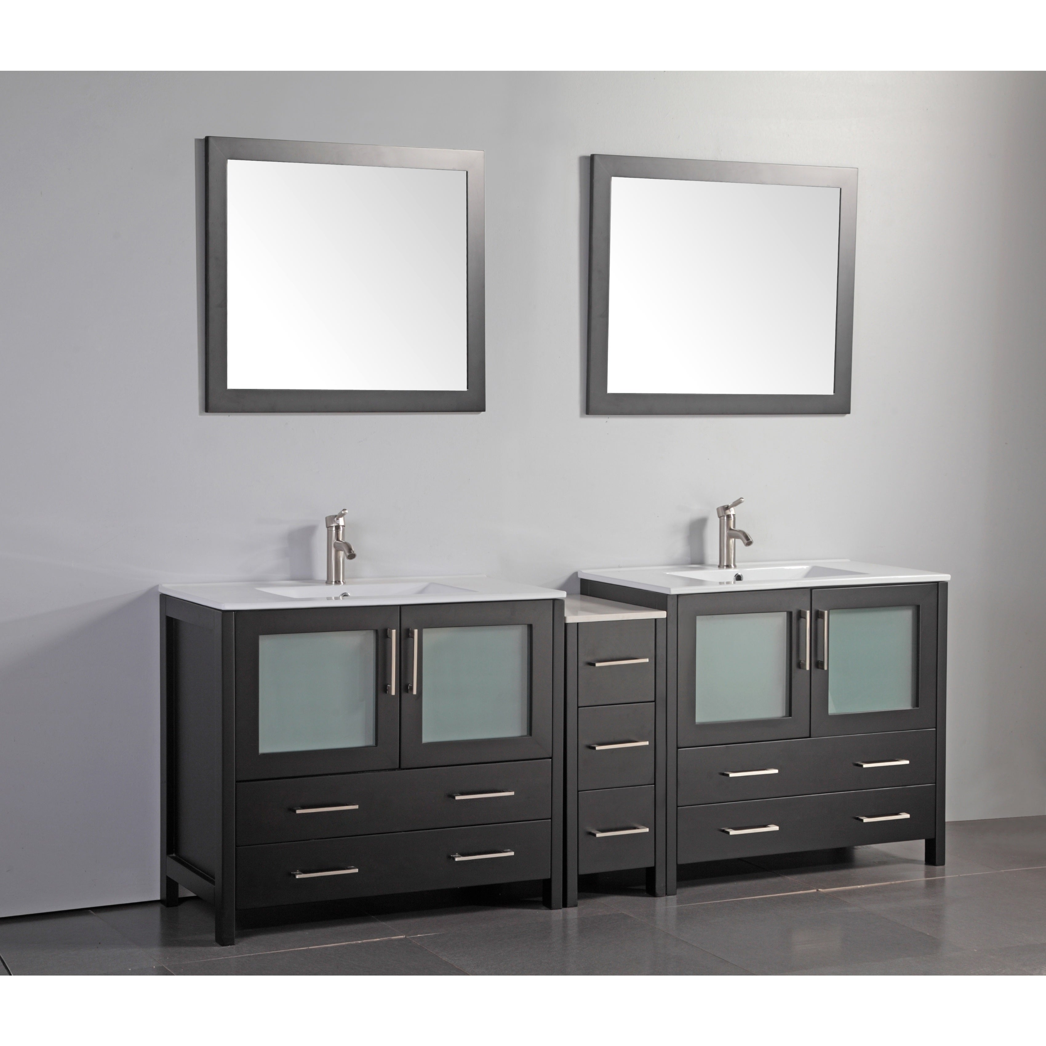 Vanity Art 84 Inch Double Sink Bathroom Vanity Set With Ceramic Top   Free  Shipping Today   Overstock.com   19404478