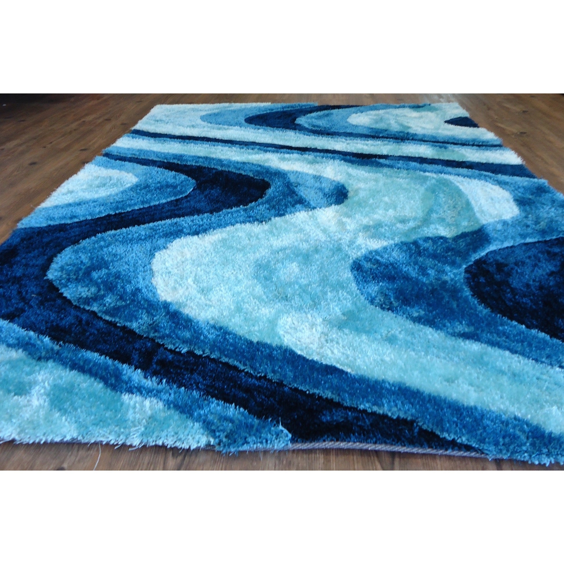 Shop Vibrant Waves Hand Tufted Turquoise Blue And Navy Blue Shag
