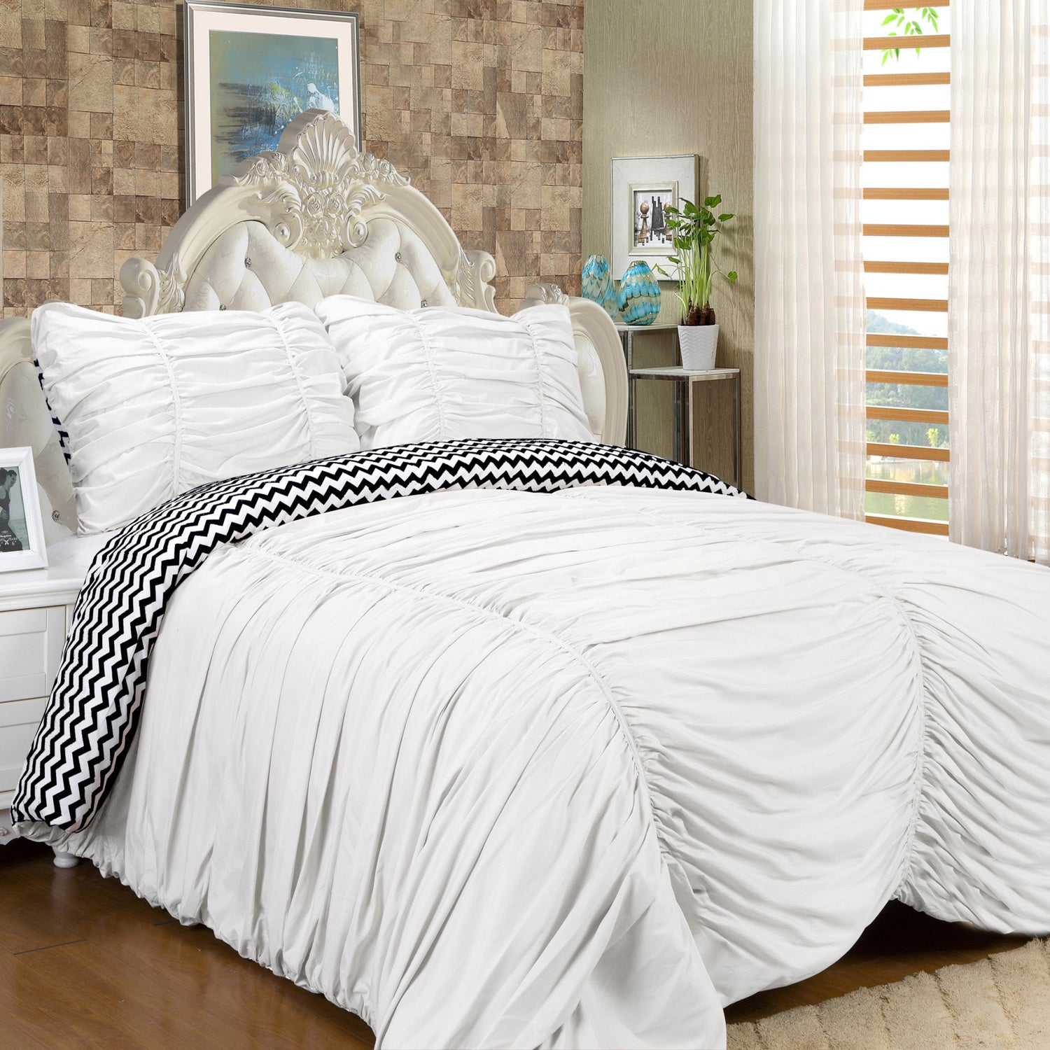 french luxury country paris ruched lace bedding chic princess white cover duvet ruffle shabby cottage set pink