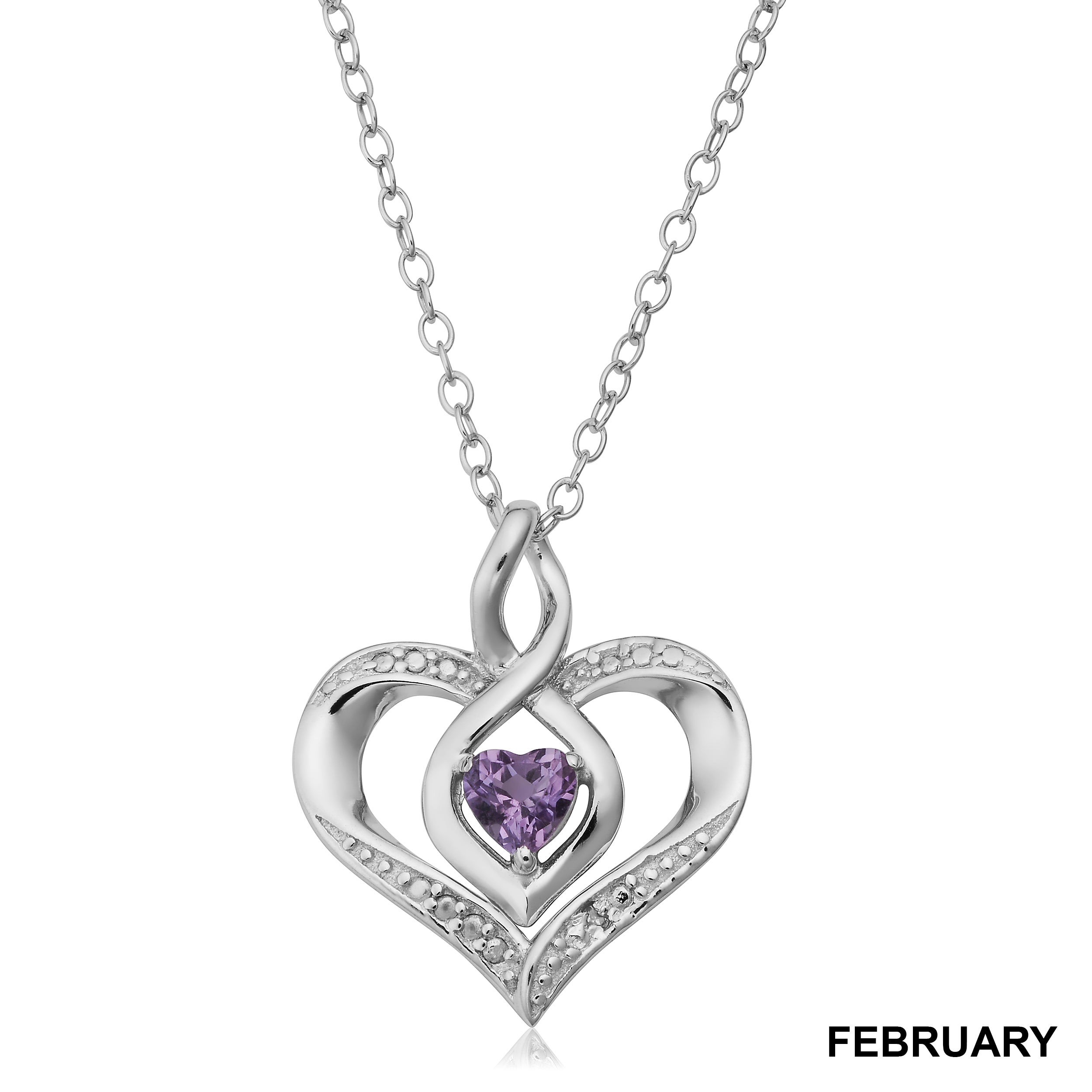 1634ac3563 Shop Sterling Silver Birthstone Heart Necklace with Diamond Accent(18  inches) - On Sale - Free Shipping On Orders Over $45 - Overstock - 12613465