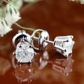Auriya 14k Gold 3/4ct TDW 6 Prong Screw-Back Round Diamond Stud Earrings