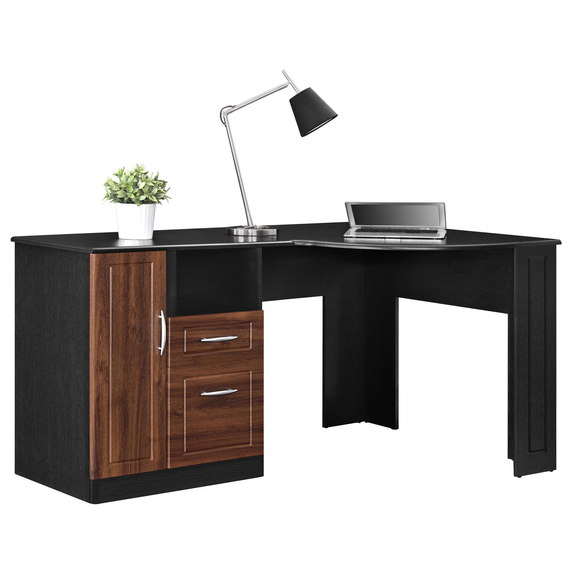 Shop ameriwood home avalon cherry black corner desk free shipping today overstock com 12614143