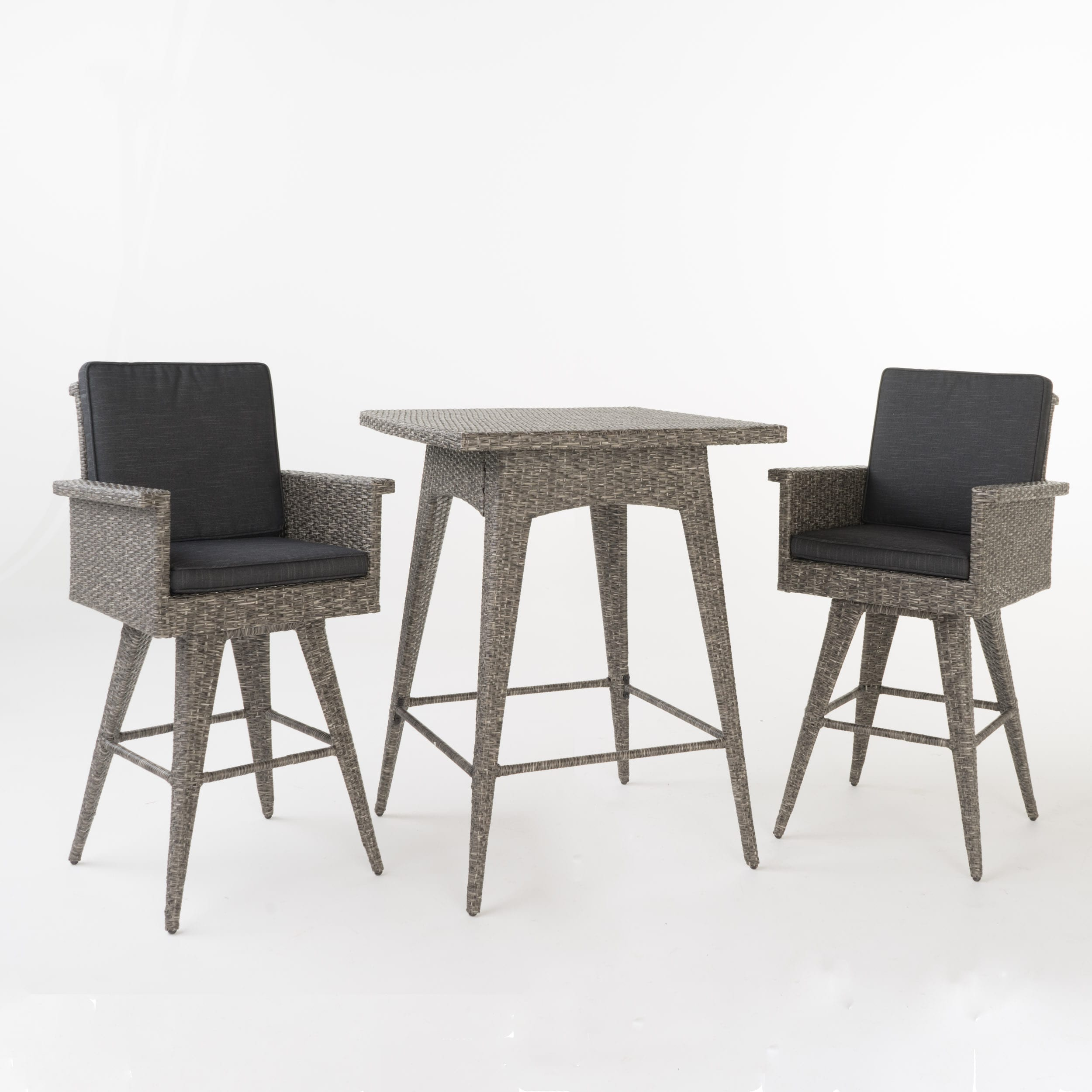 Puerta Outdoor 3-piece Wicker Dining Bar Set with Cushions by ...
