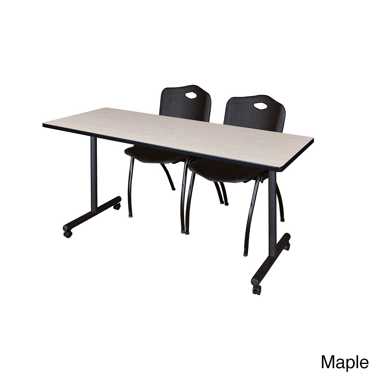 Shop Kobe Mobile Black Training Table and 2 Stack Chairs - Free Shipping  Today - Overstock.com - 12615229 e1541f7ed53