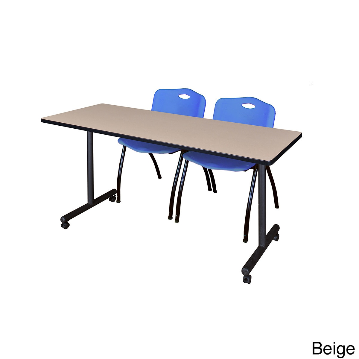 Shop Kobe Blue Black Wood Laminate Metal Mobile Training Table with Two  Stack Chairs - Free Shipping Today - Overstock - 12615230 16f7cada076