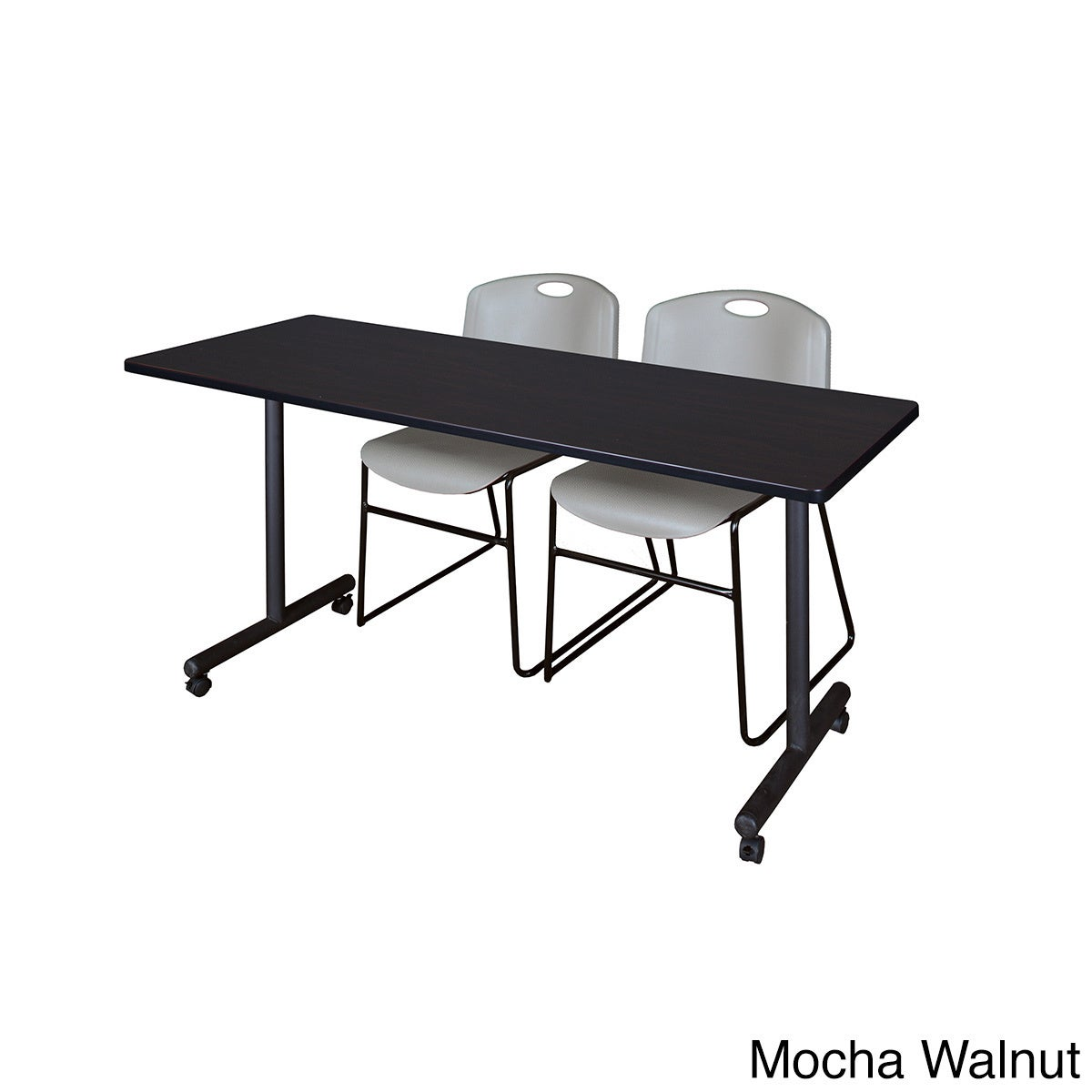Shop Kobe Grey Black Wood Laminate Metal Mobile Training Table with 2 Zeng  Stackable Chairs - Free Shipping Today - Overstock.com - 12615240 7629804a267