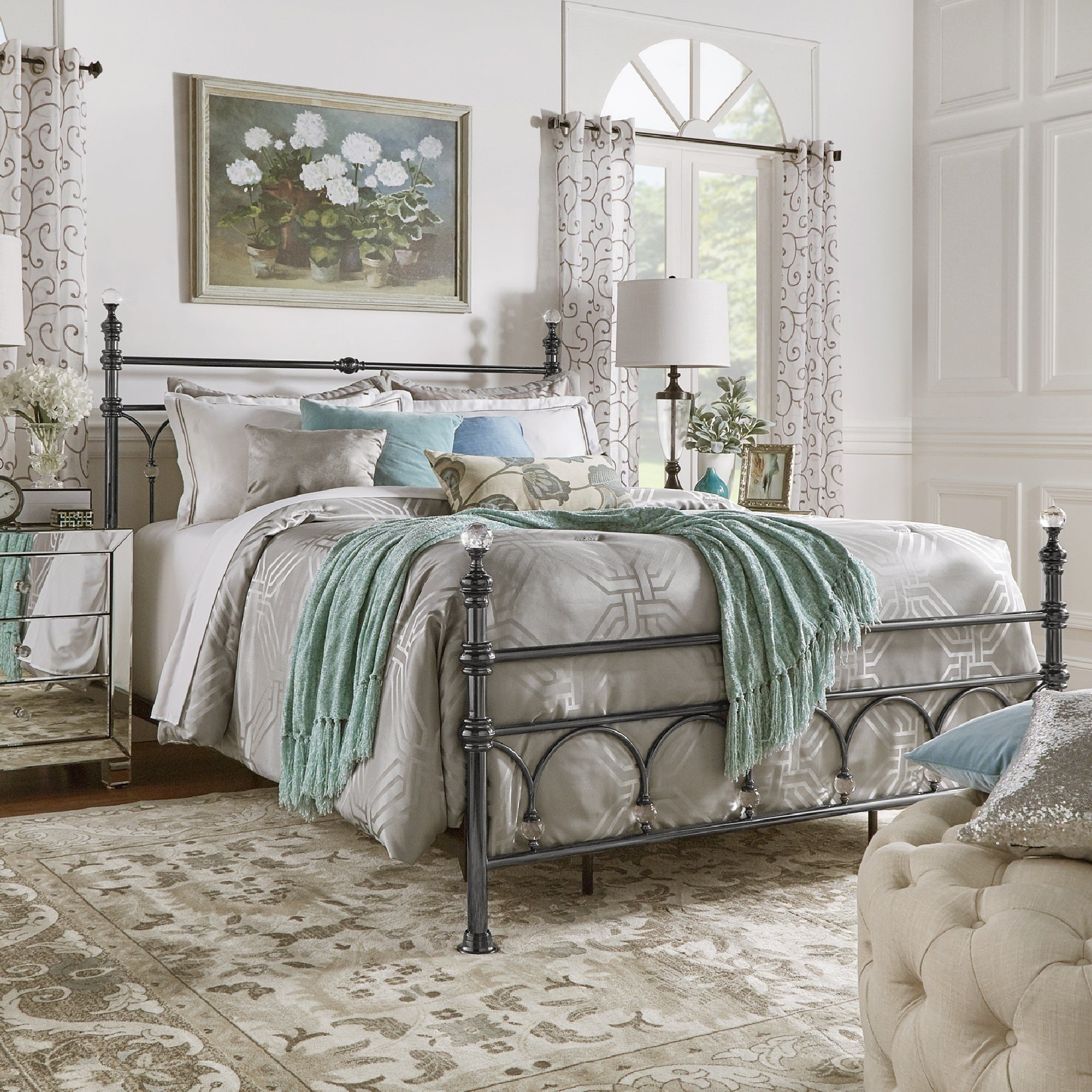 Shop Florence Victorian Crystal Metal Bed by