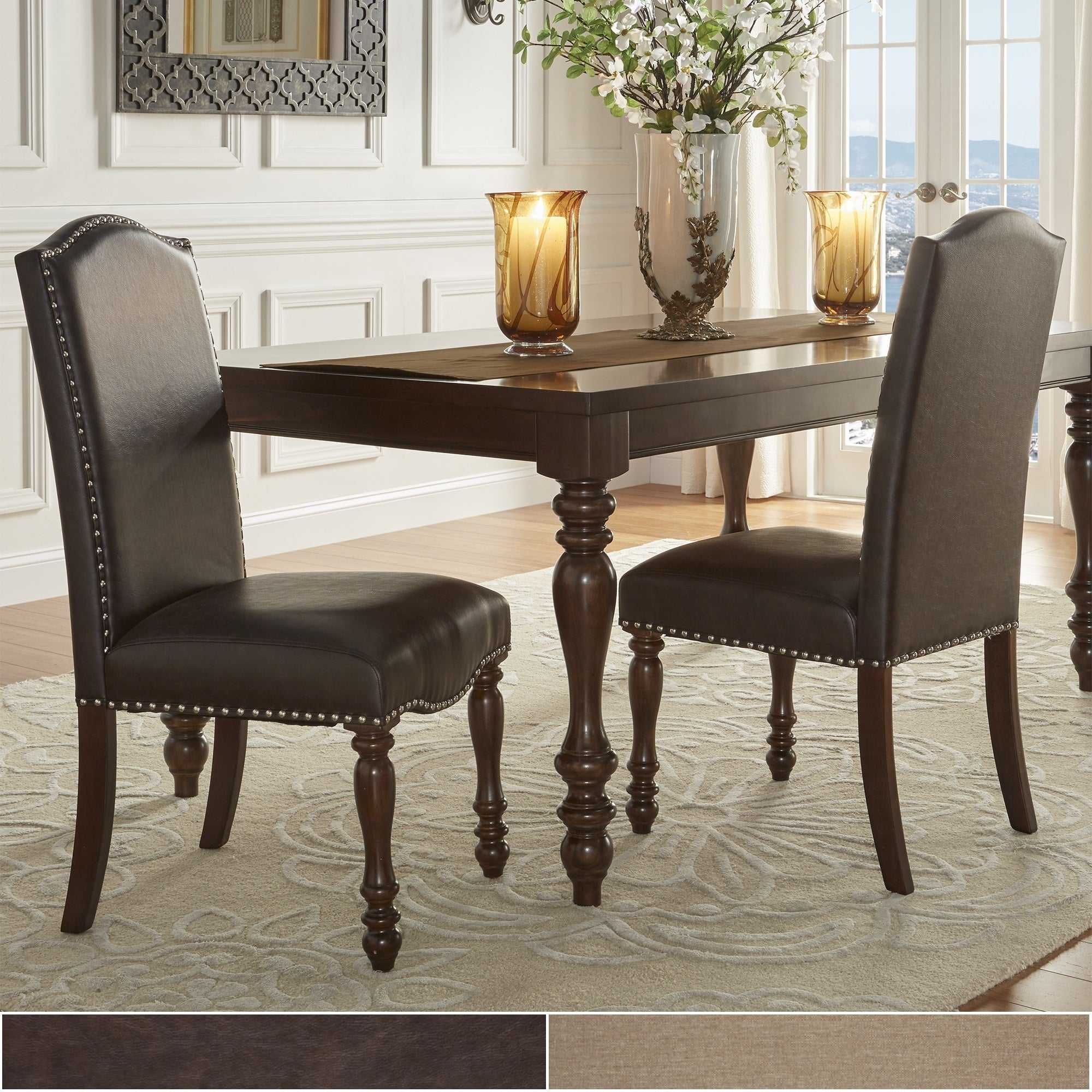 Parisian Nailhead Upholstered Dining Chairs (Set of 2) by iNSPIRE Q Classic  - Free Shipping Today - Overstock.com - 19409518