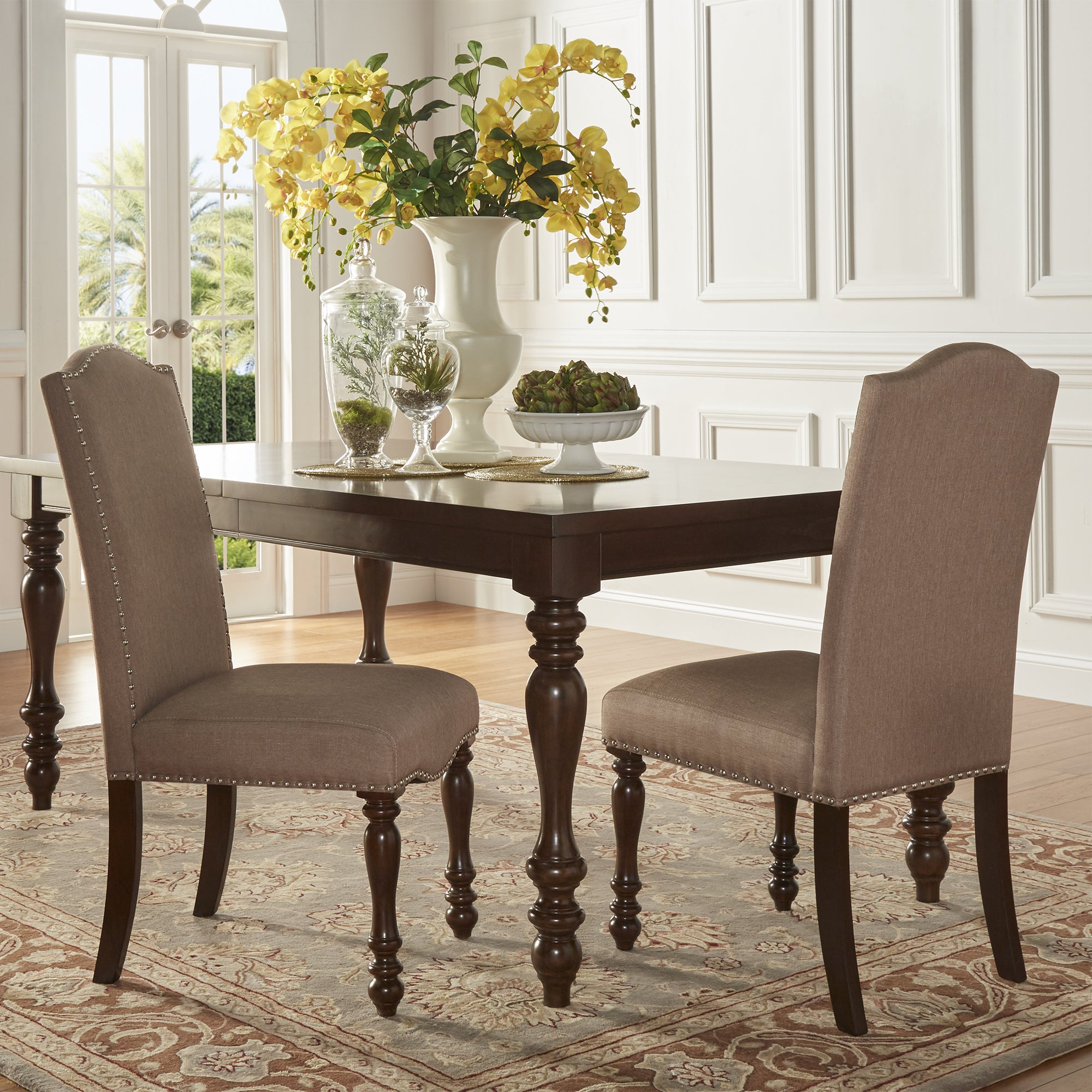 Parisian Nailhead Upholstered Dining Chairs (Set Of 2) By INSPIRE Q Classic    Free Shipping Today   Overstock   19409518