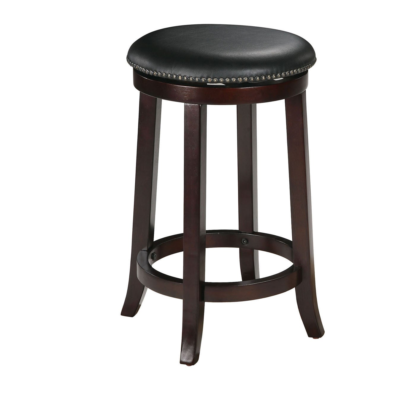 Chelsea Faux Leather And Wood Espresso Finish Swivel Bar Stool Set Of 2 Free Shipping Today 19409536