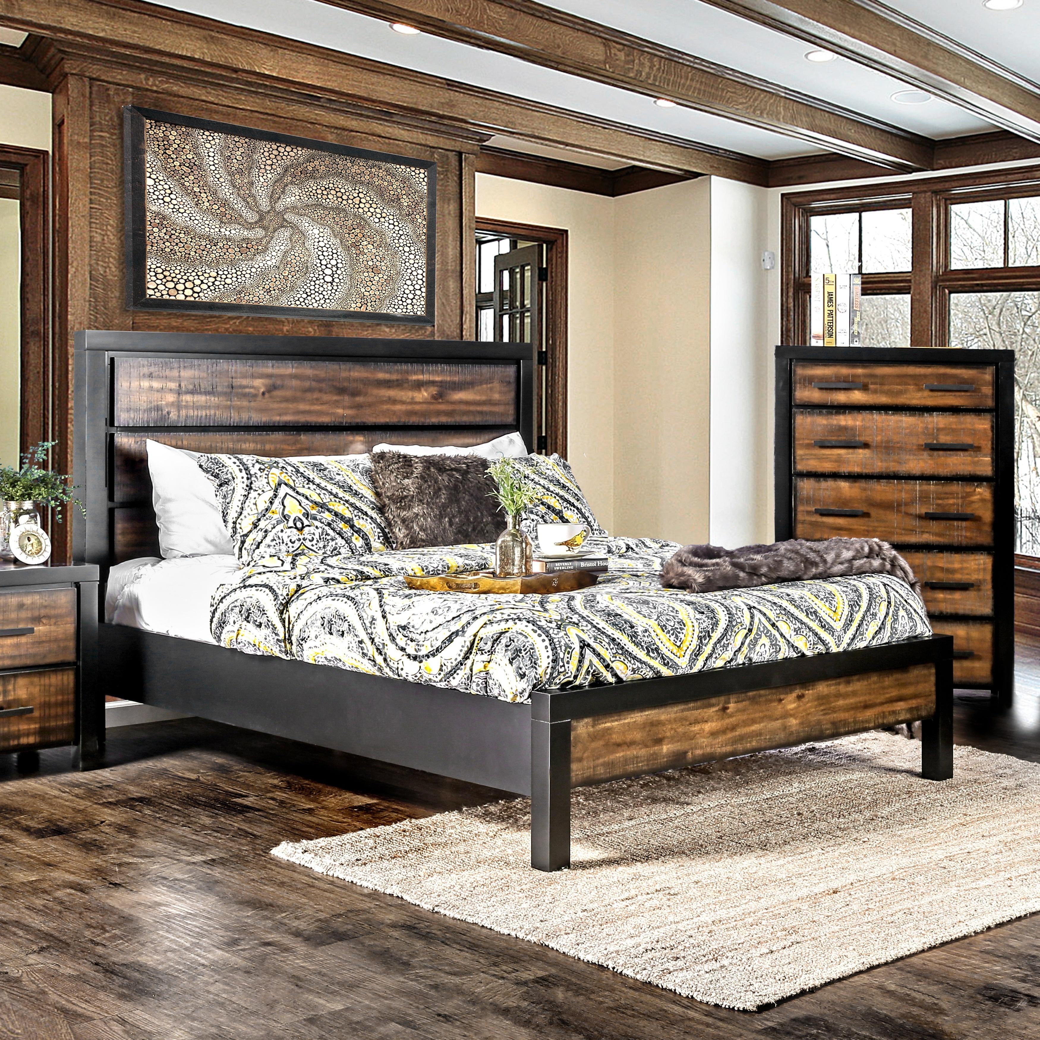 Furniture of america marson rustic two tone black oak platform bed