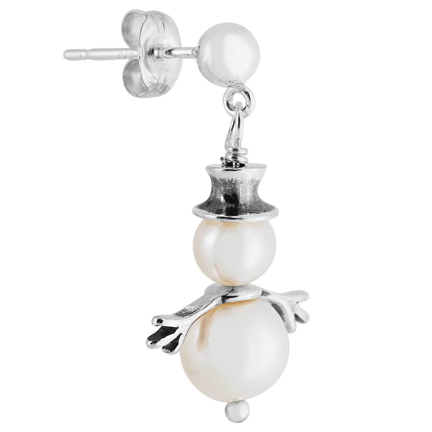 Sterling Silver Pearl Snowman Earrings Free Shipping On Orders Over 45 12634647