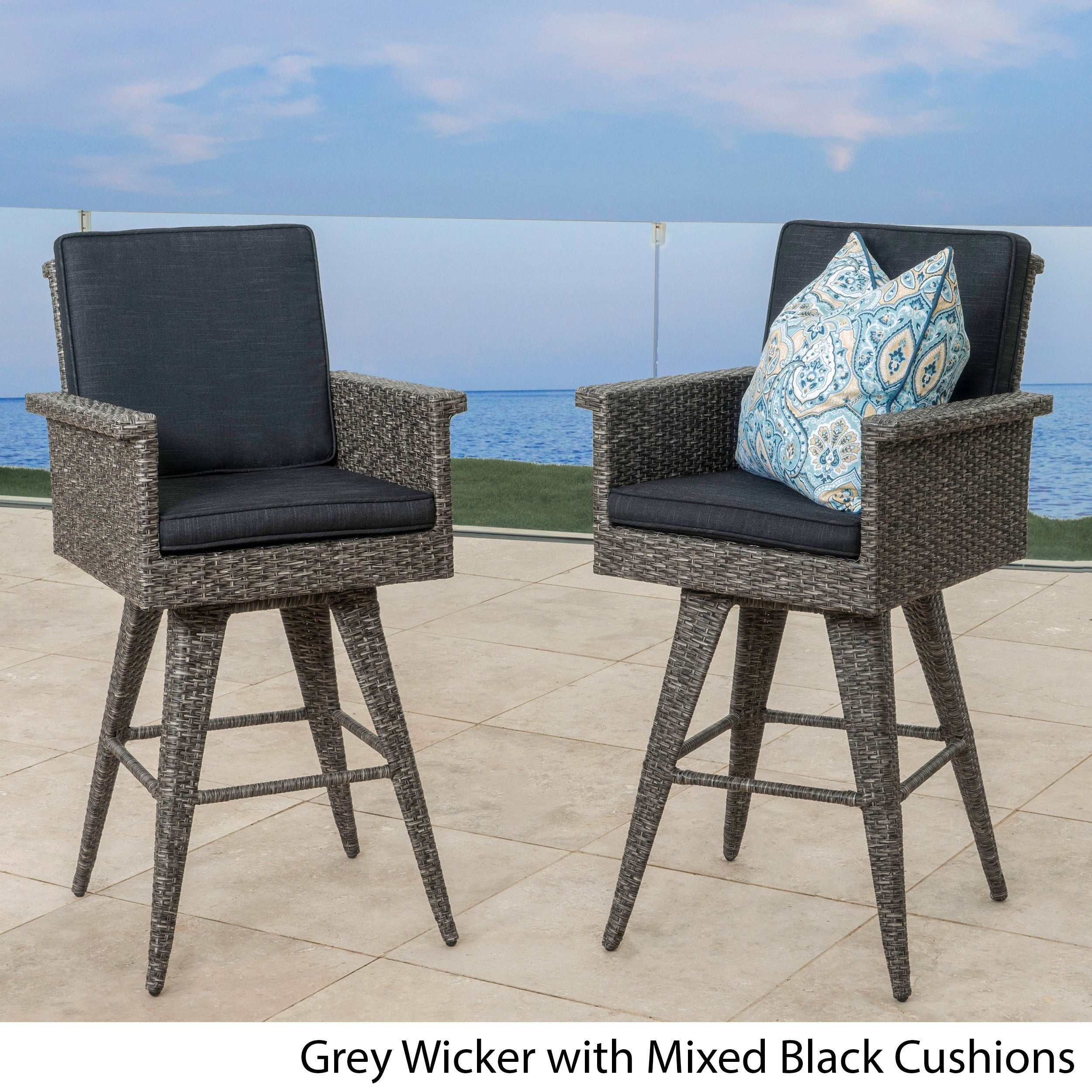 Puerta Outdoor Wicker Barstool with Cushions (Set of 2) by ...