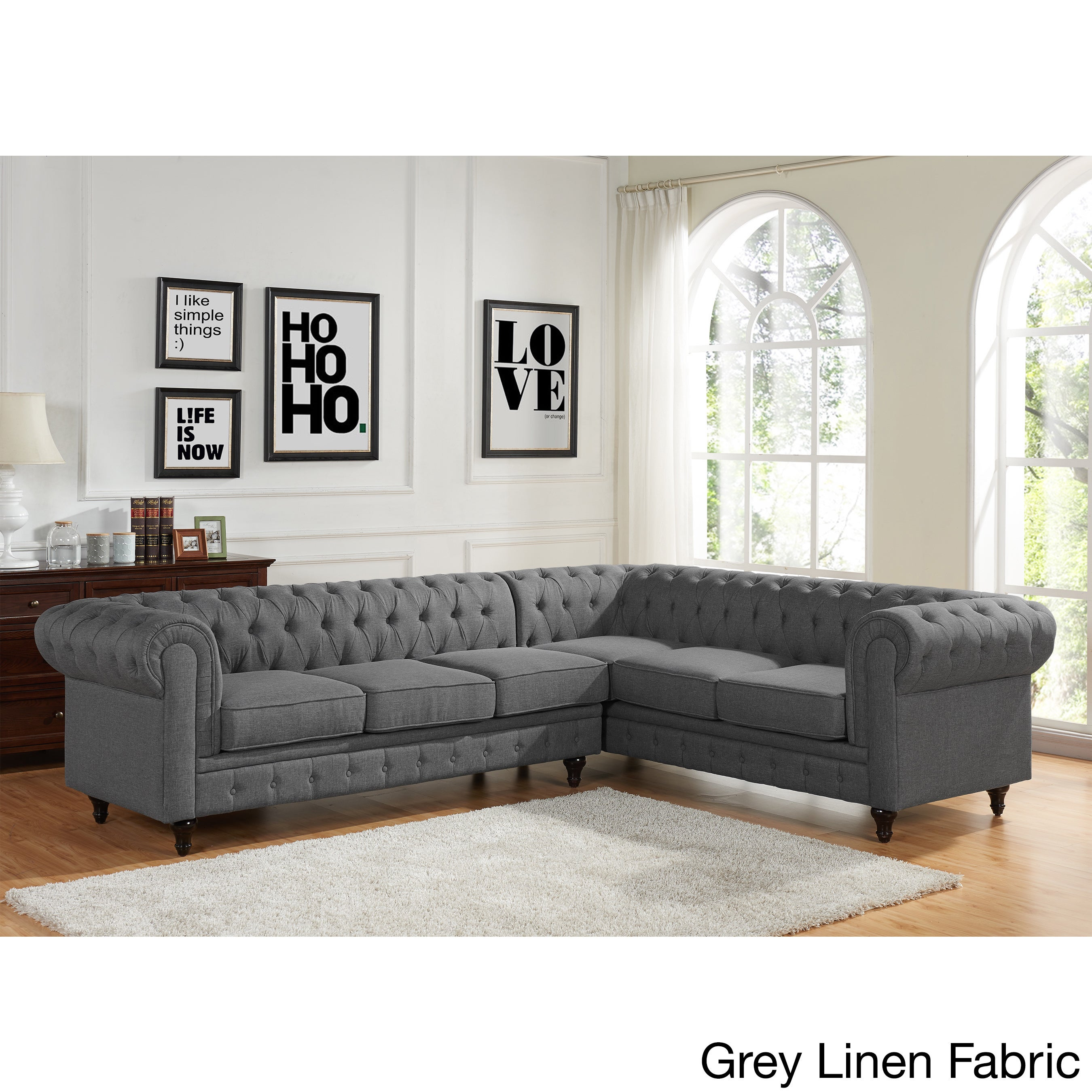 Sophia Modern Style Tufted Rolled Arm Left Facing Chaise Sectional Sofa